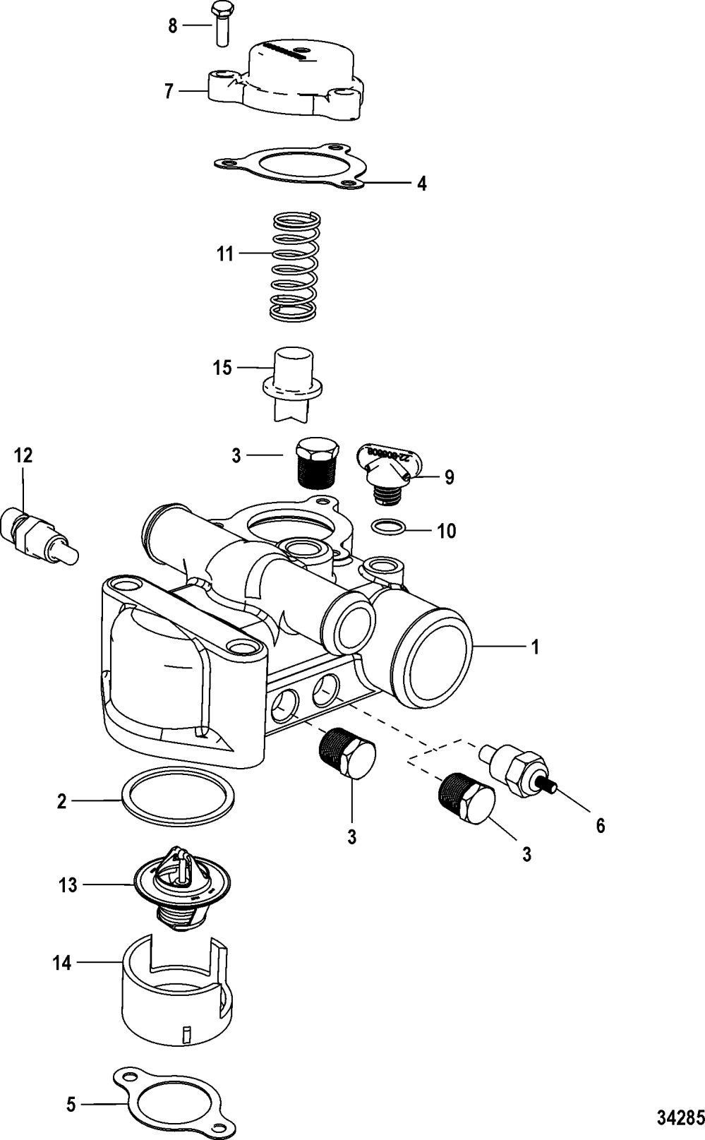 medium resolution of thermostat and housing standard cooling for mercruiser 5 0 350 377 mag mpi sterndrive ec