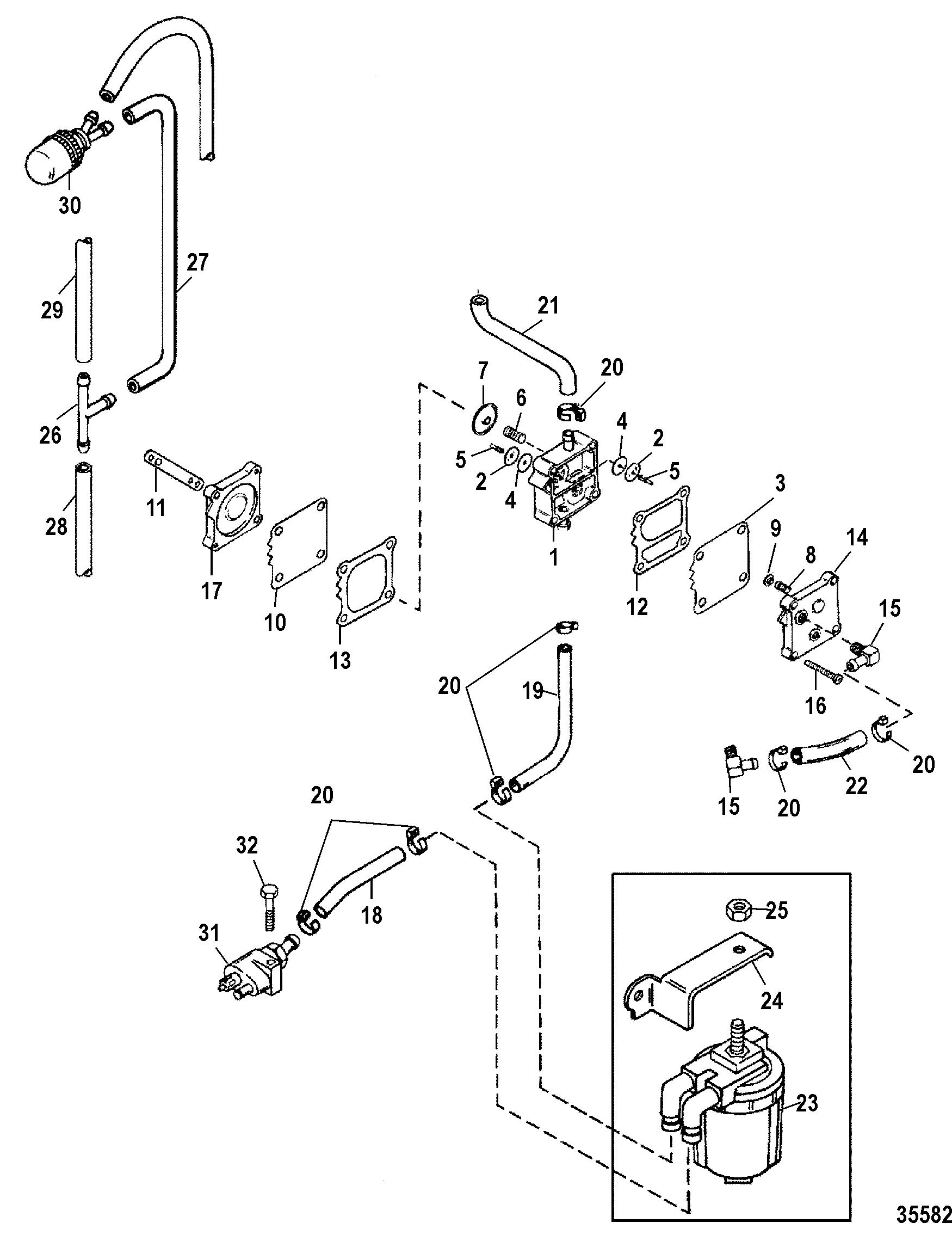 Fuel Pump, Manual FOR MARINER / MERCURY 55/60/45 JET/60