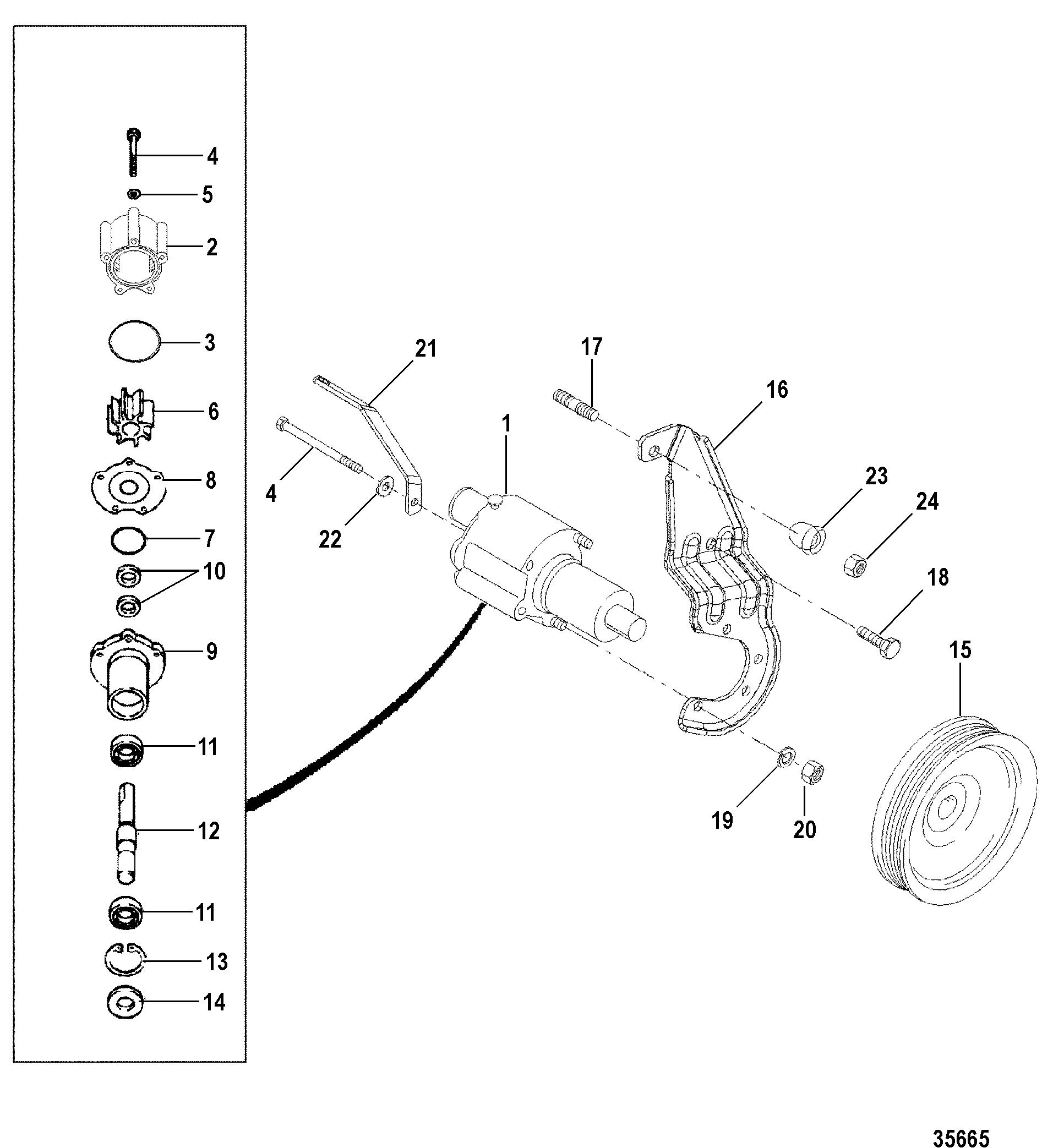 mercruiser water pump diagram 2003 silverado bose radio wiring sea for 7 4l mpi bravo l29 gen vi