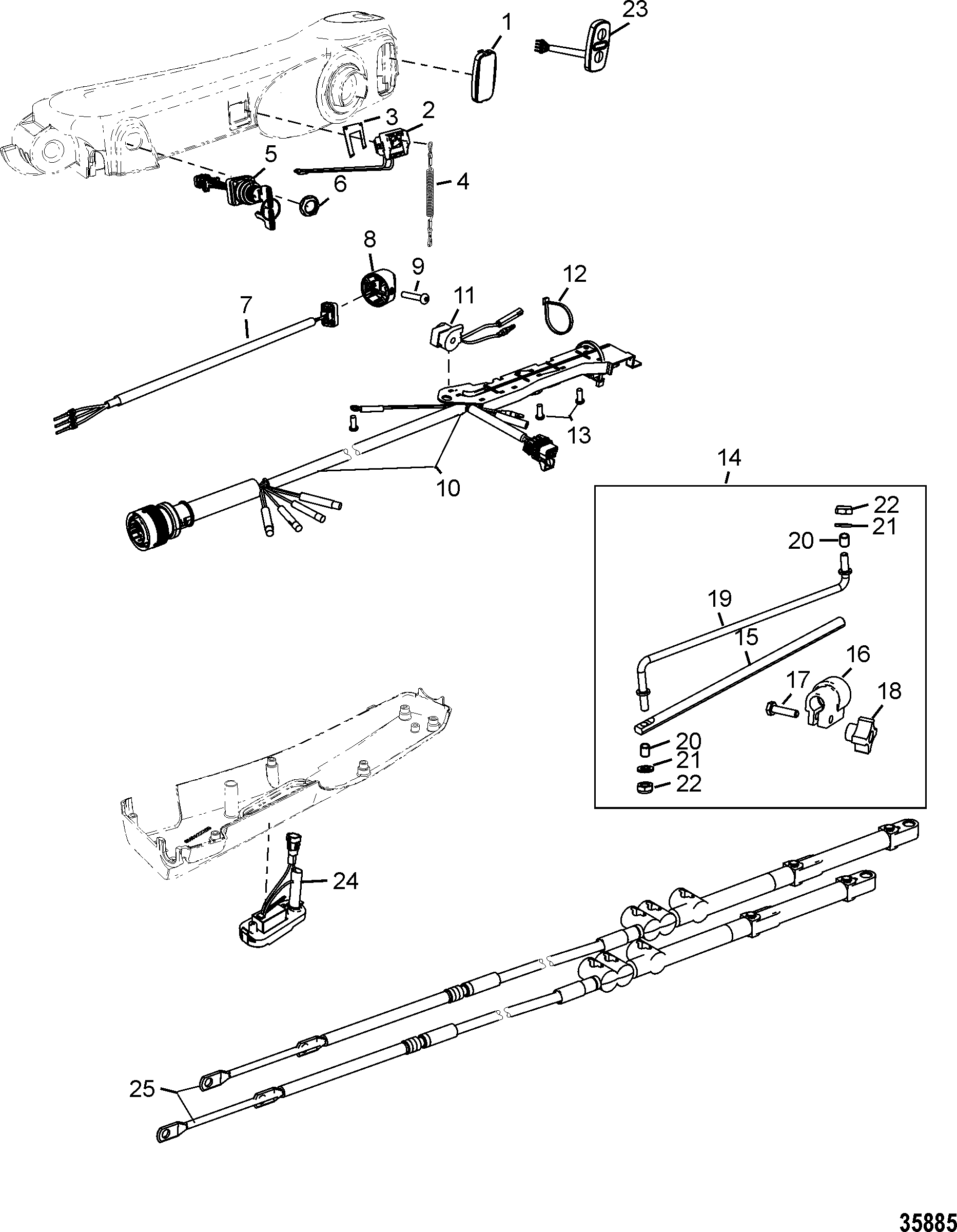 Tiller Handle Kit Components Big Tiller-Manual Mechanical FOR STEERING SYSTEMS AND COMPONENTS