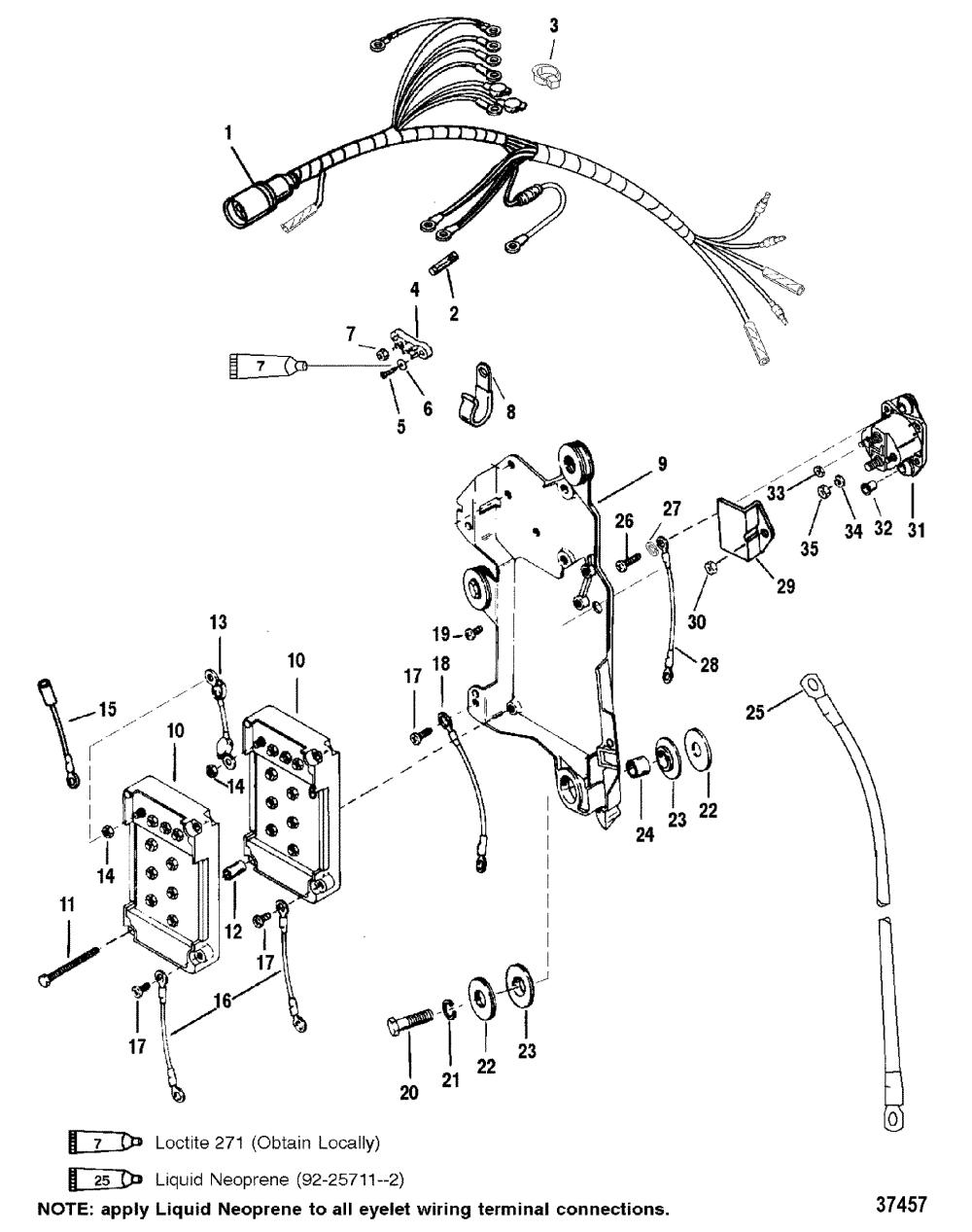 medium resolution of wiring harness starter solenoid for mariner mercury 150 175 200 efi zoom