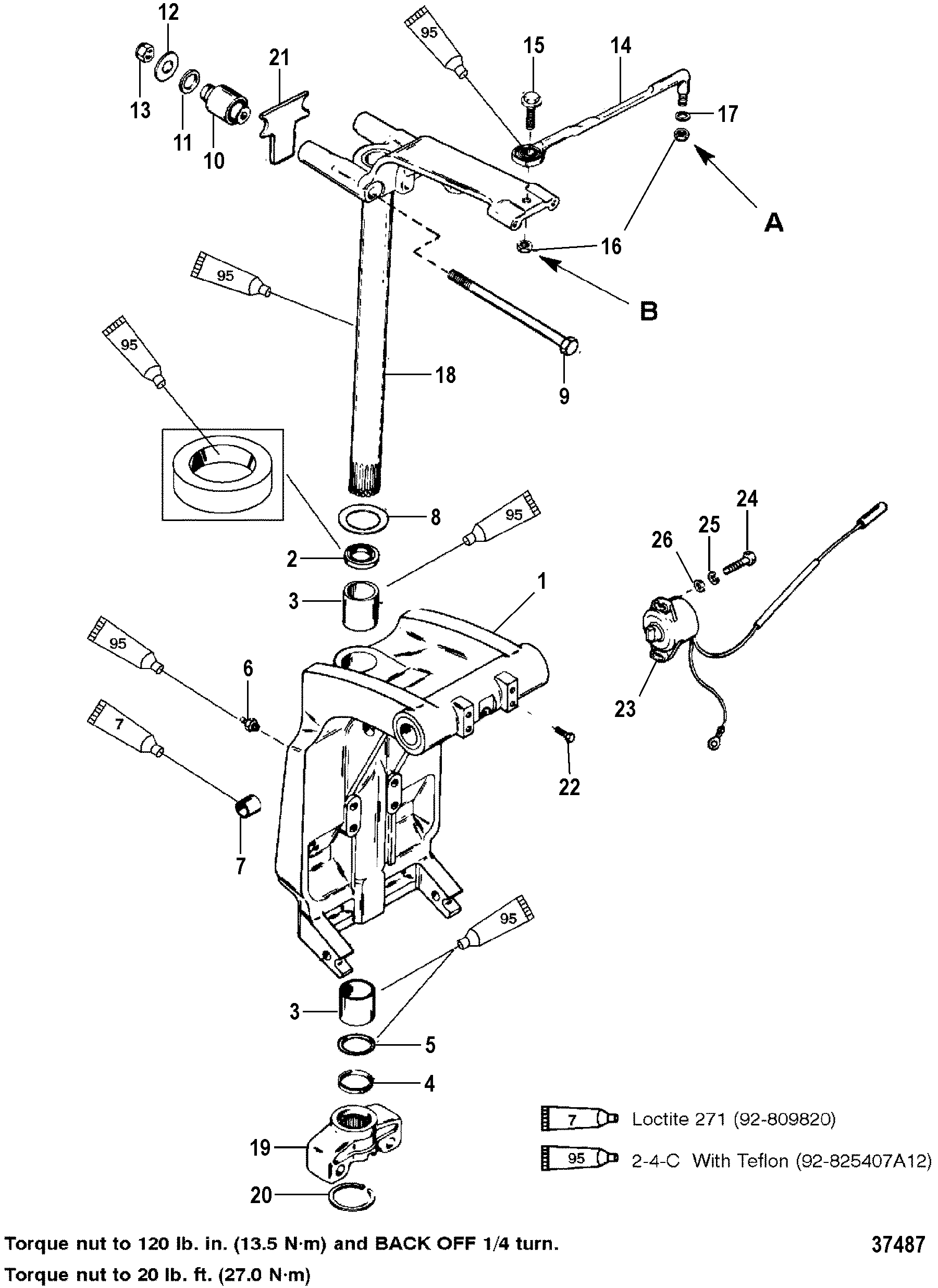 Swivel Bracket And Steering Arm For Mariner Mercury 150