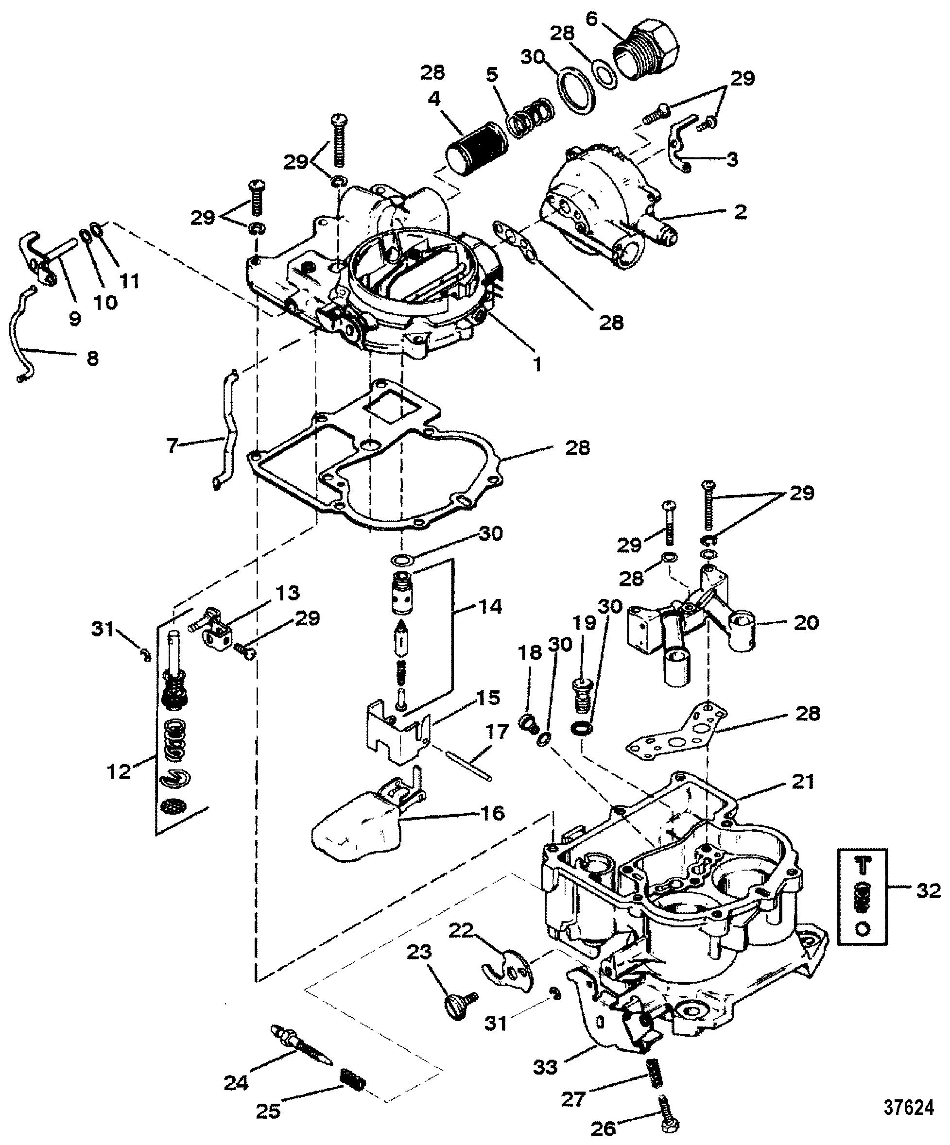 mercruiser wiring diagram 5 7 for trailer lights carburetor mercarb 2 barrel 7l 2bbl