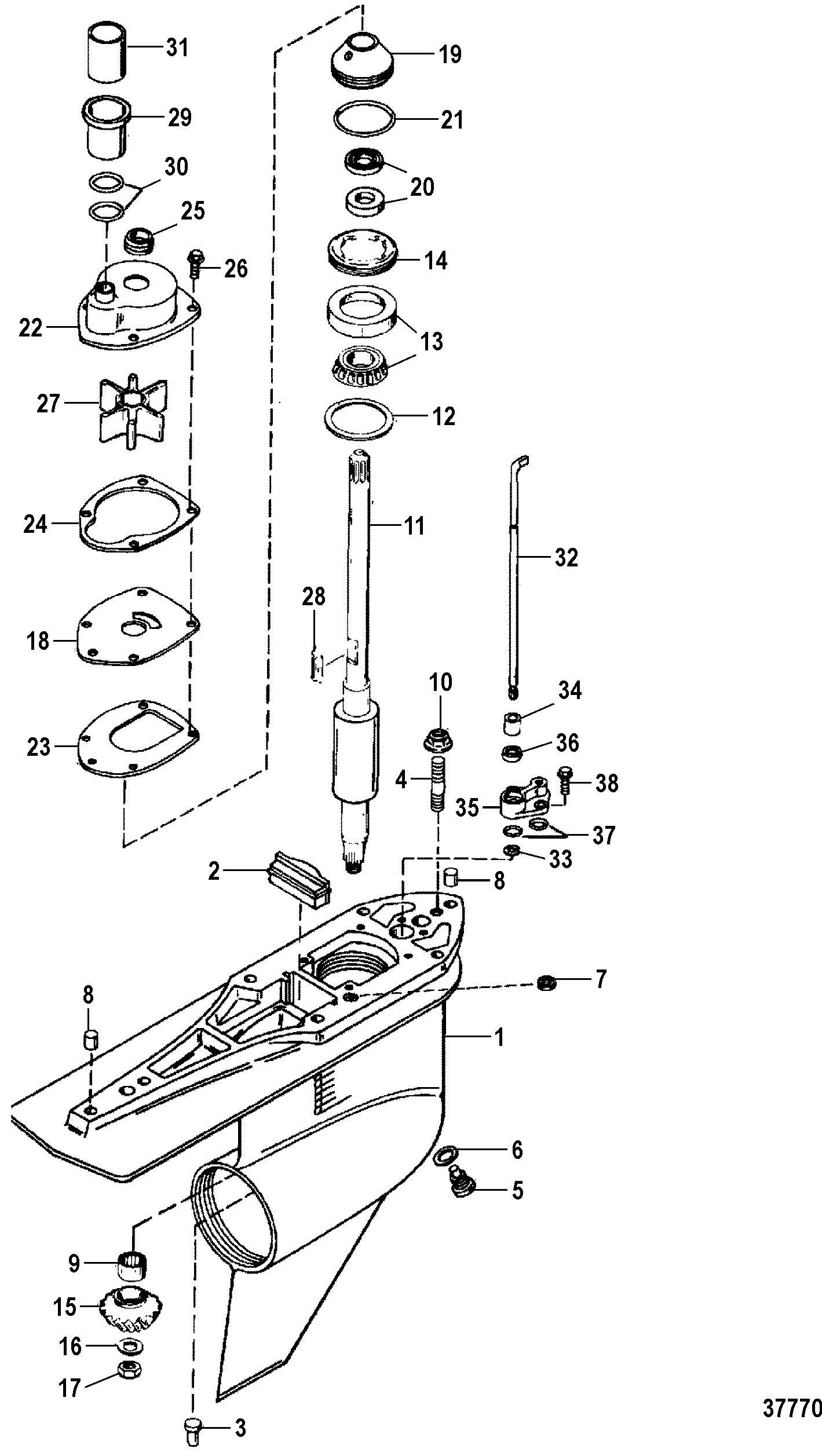 alpha one sterndrive parts diagram 1976 honda cb750 wiring gear housing driveshaft counter rotation for mercruiser