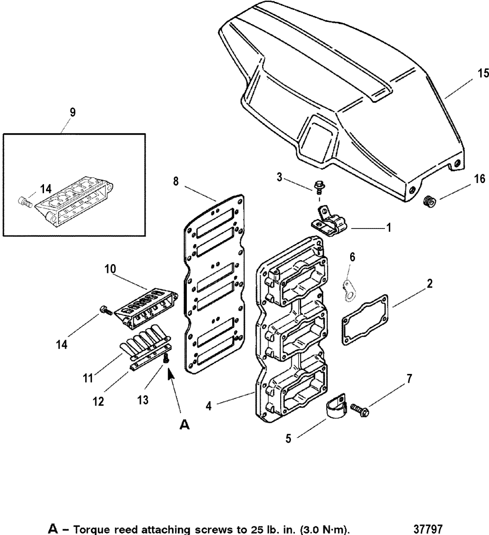 medium resolution of reed block flywheel cover for mariner mercury 225 250 efi 3 0l