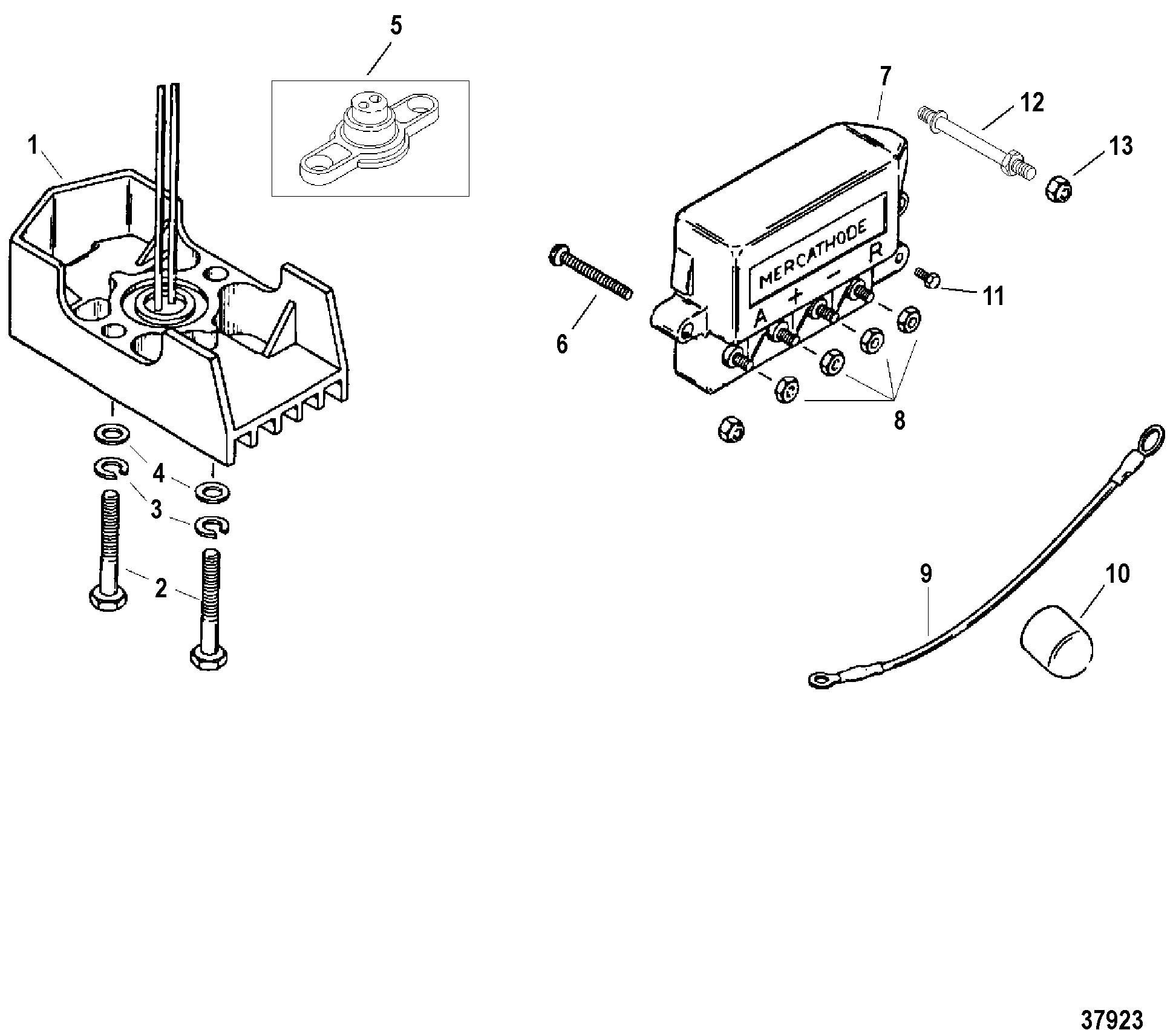 MERCATHODE COMPONENTS FOR MERCRUISER 7.4L BRAVO I, II, III