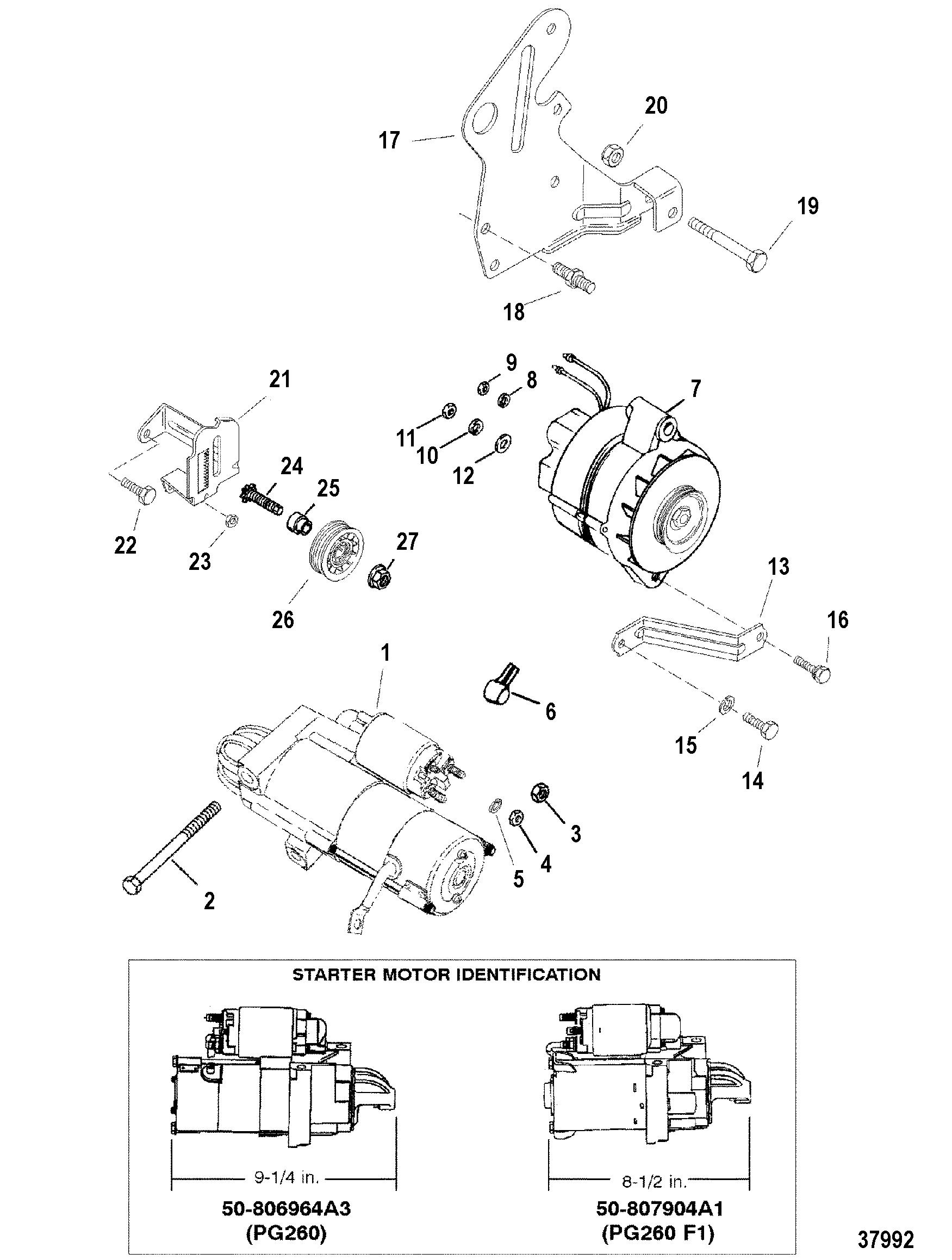 Starter Motor And Alternator For Mercruiser 4 3 Lx Lxh