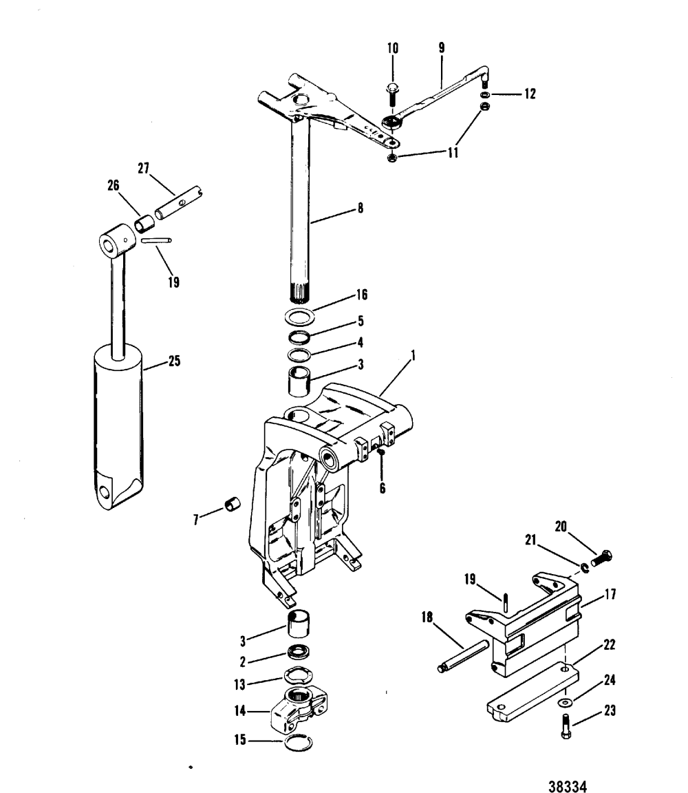 medium resolution of swivel bracket and steering arm for mariner mercury 70 75 80 90 mercury marine mercury outboard 1070717 electrical components diagram
