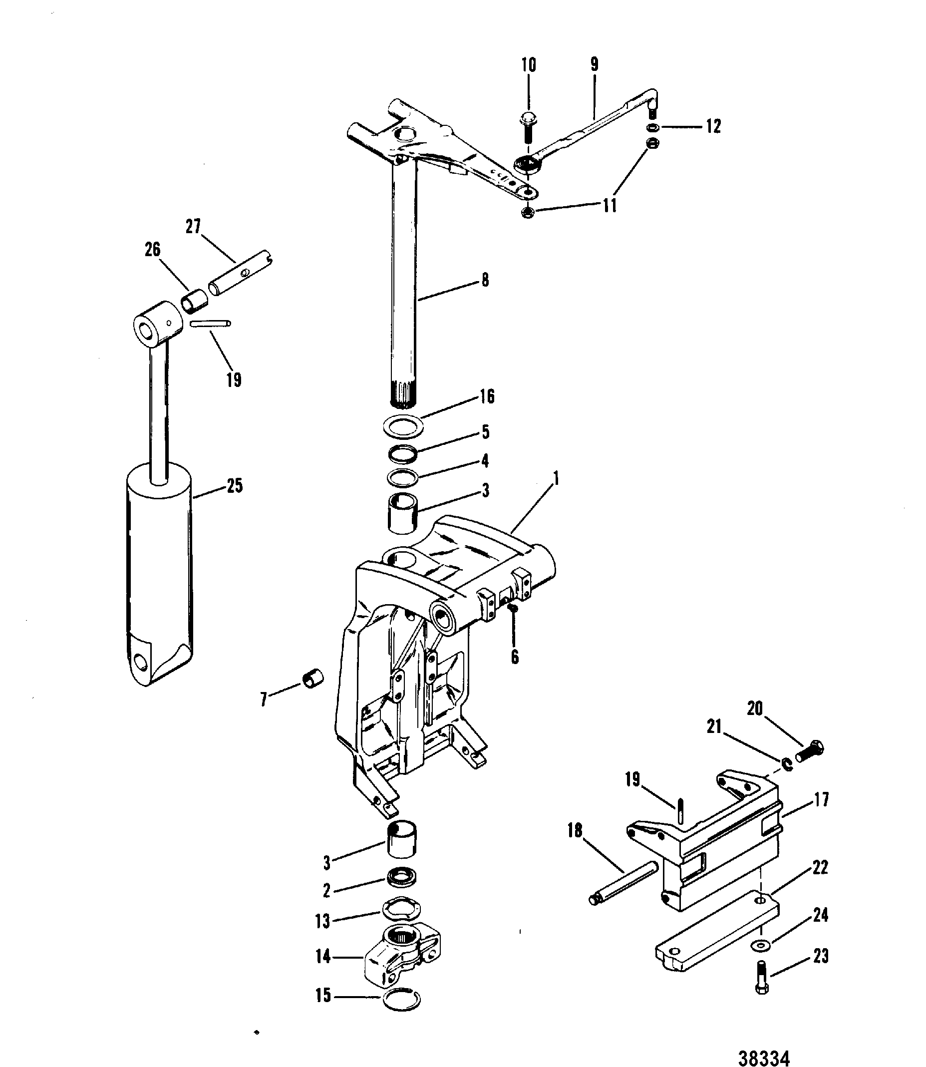 hight resolution of swivel bracket and steering arm for mariner mercury 70 75 80 90 mercury marine mercury outboard 1070717 electrical components diagram