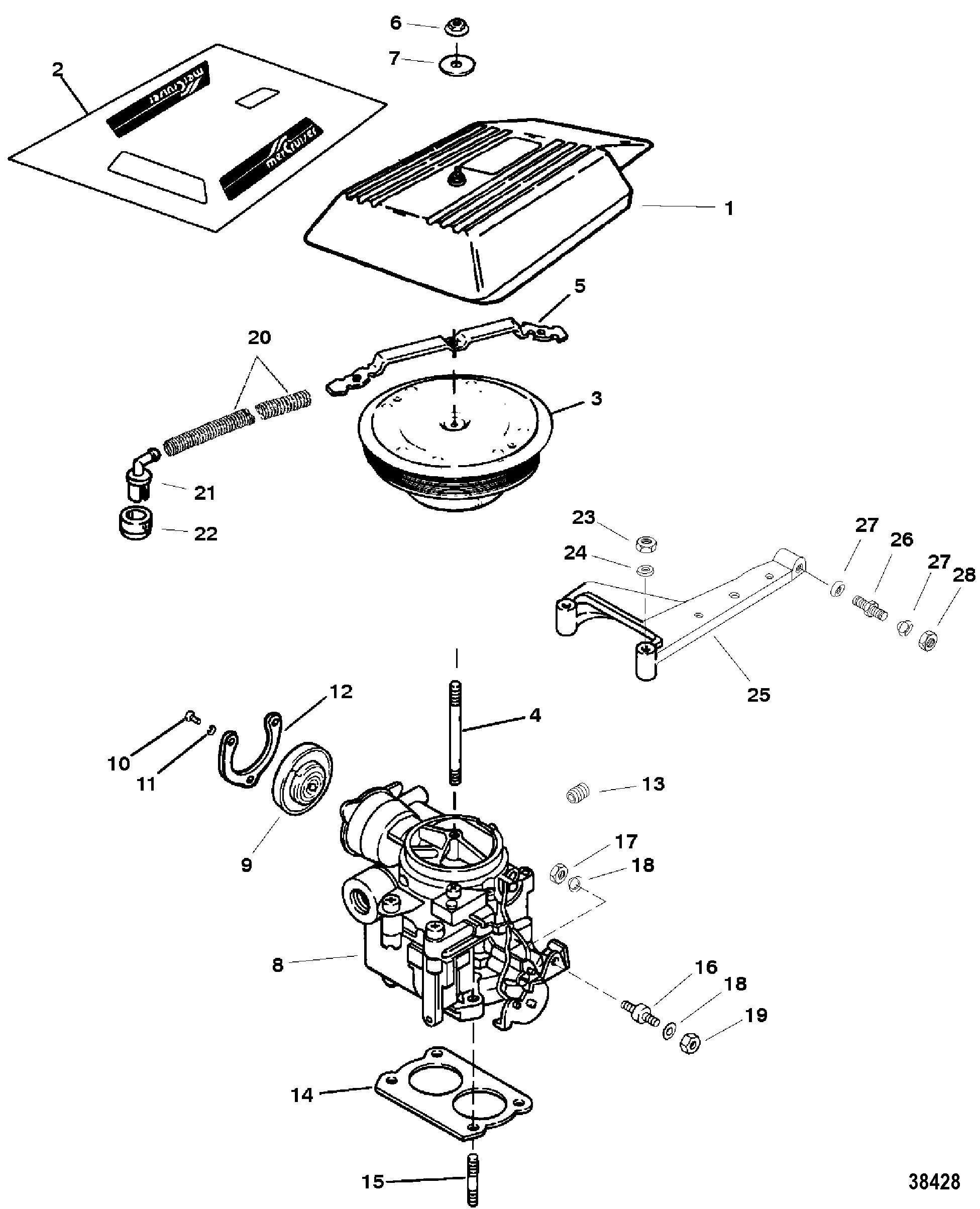 Carburetor And Throttle Linkage 2 Barrel For Mercruiser 4 3l 4 3lx Alpha One Engine 262 Cid Gen Ii