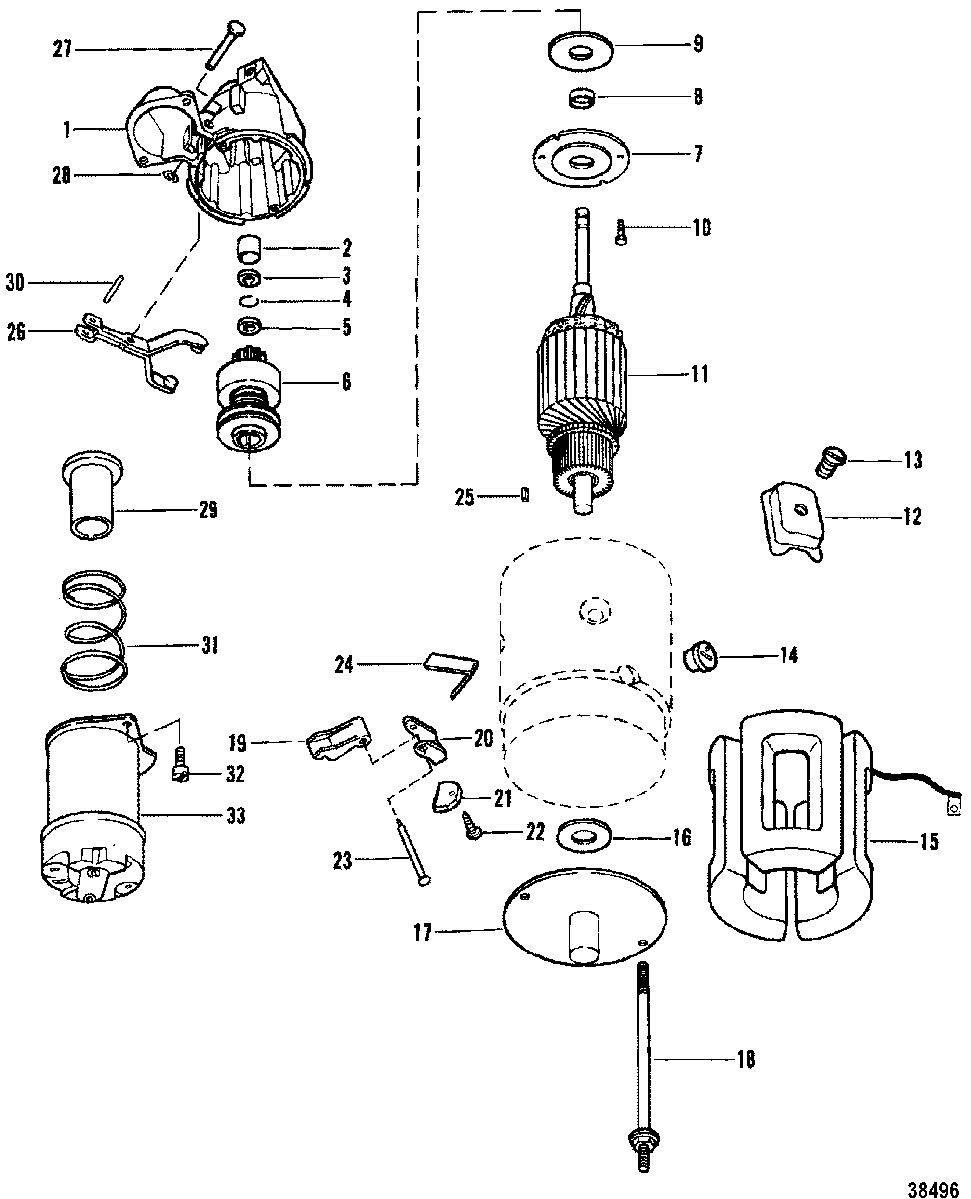 STARTER MOTOR USE WITH 14 FLYWHEEL FOR MERCRUISER 898/200