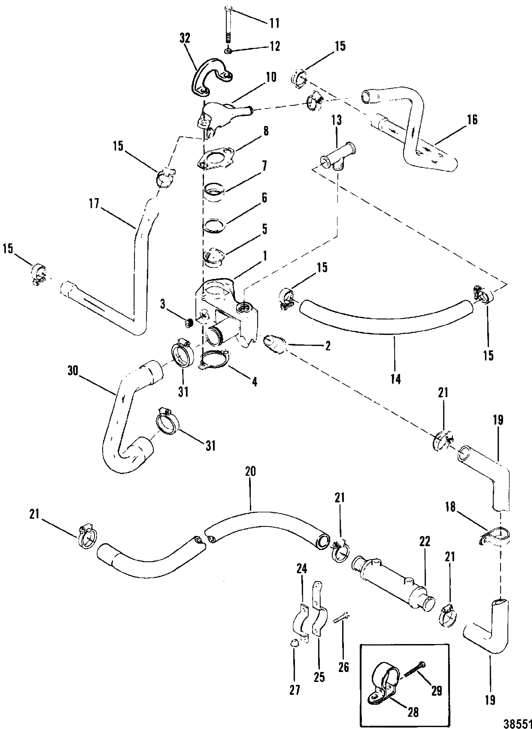 STANDARD COOLING SYSTEM DESIGN I FOR MERCRUISER 200/5.0L