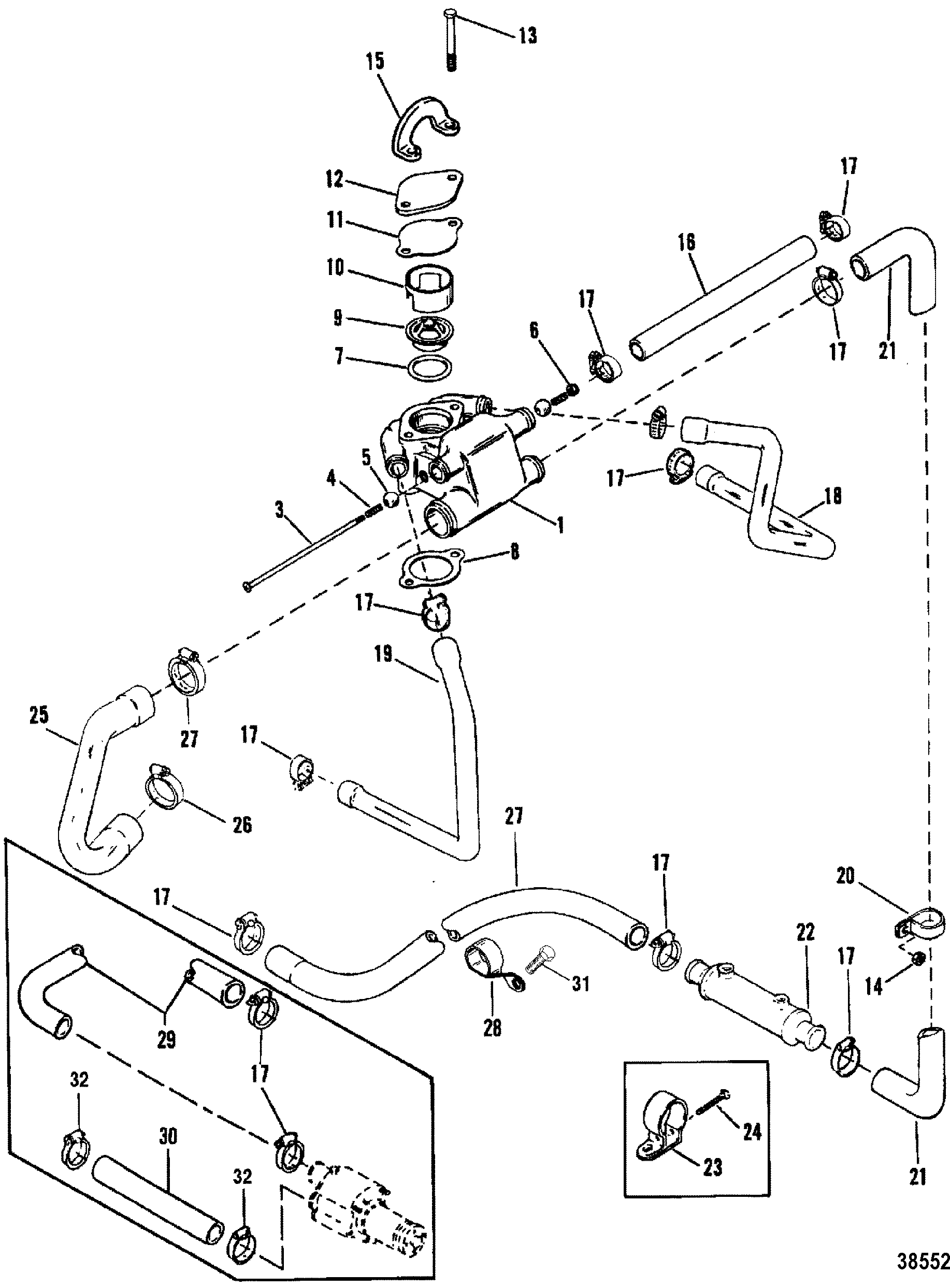 STANDARD COOLING SYSTEM DESIGN II FOR MERCRUISER 200/5.0L