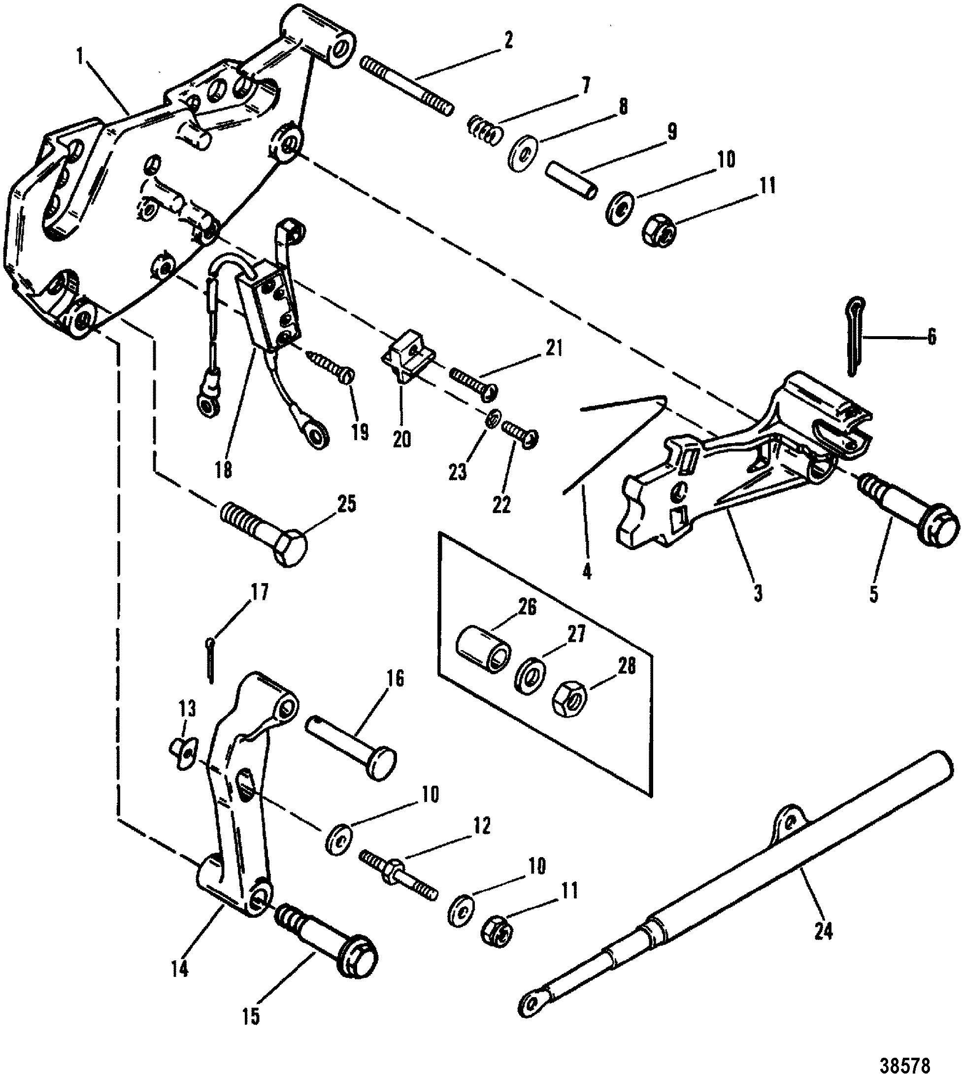 SHIFT BRACKET ALPHA ENGINES FOR MERCRUISER 200/5.0L/LX 260