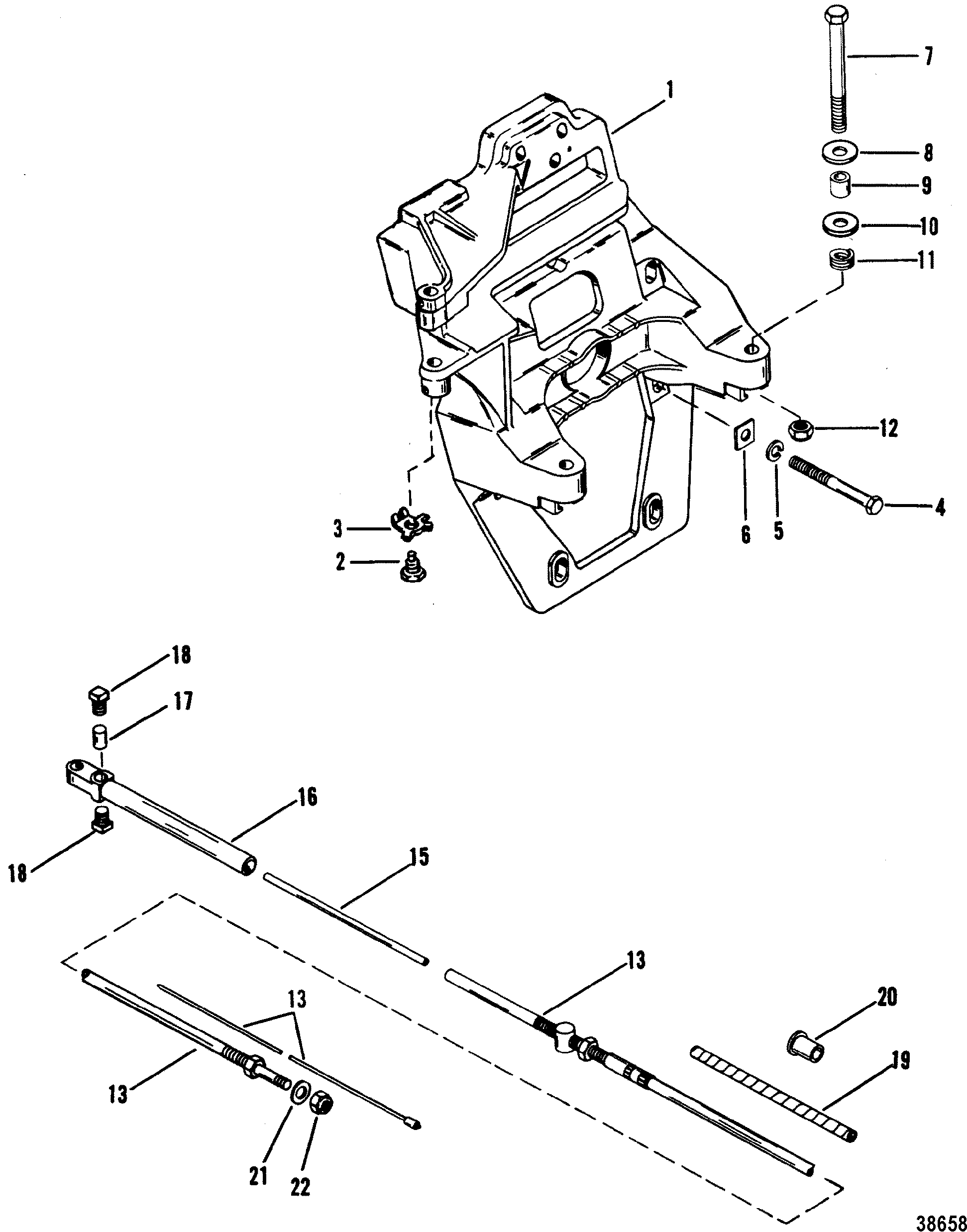 TRANSOM PLATE AND SHIFT CABLE FOR MERCRUISER BRAVO I/II
