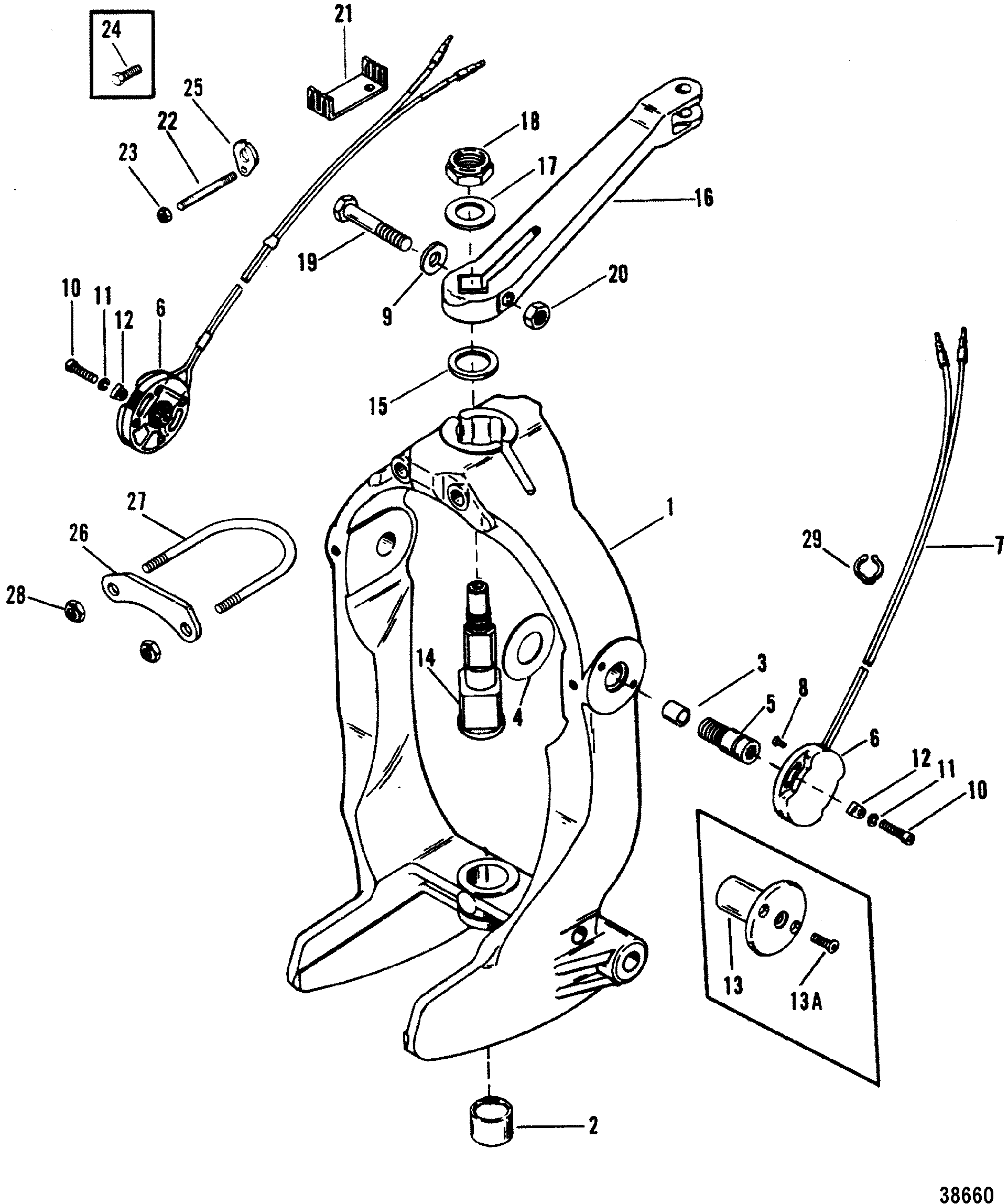 alpha one sterndrive parts diagram 2003 pontiac grand prix engine gimbal ring and steering lever for mercruiser bravo i ii