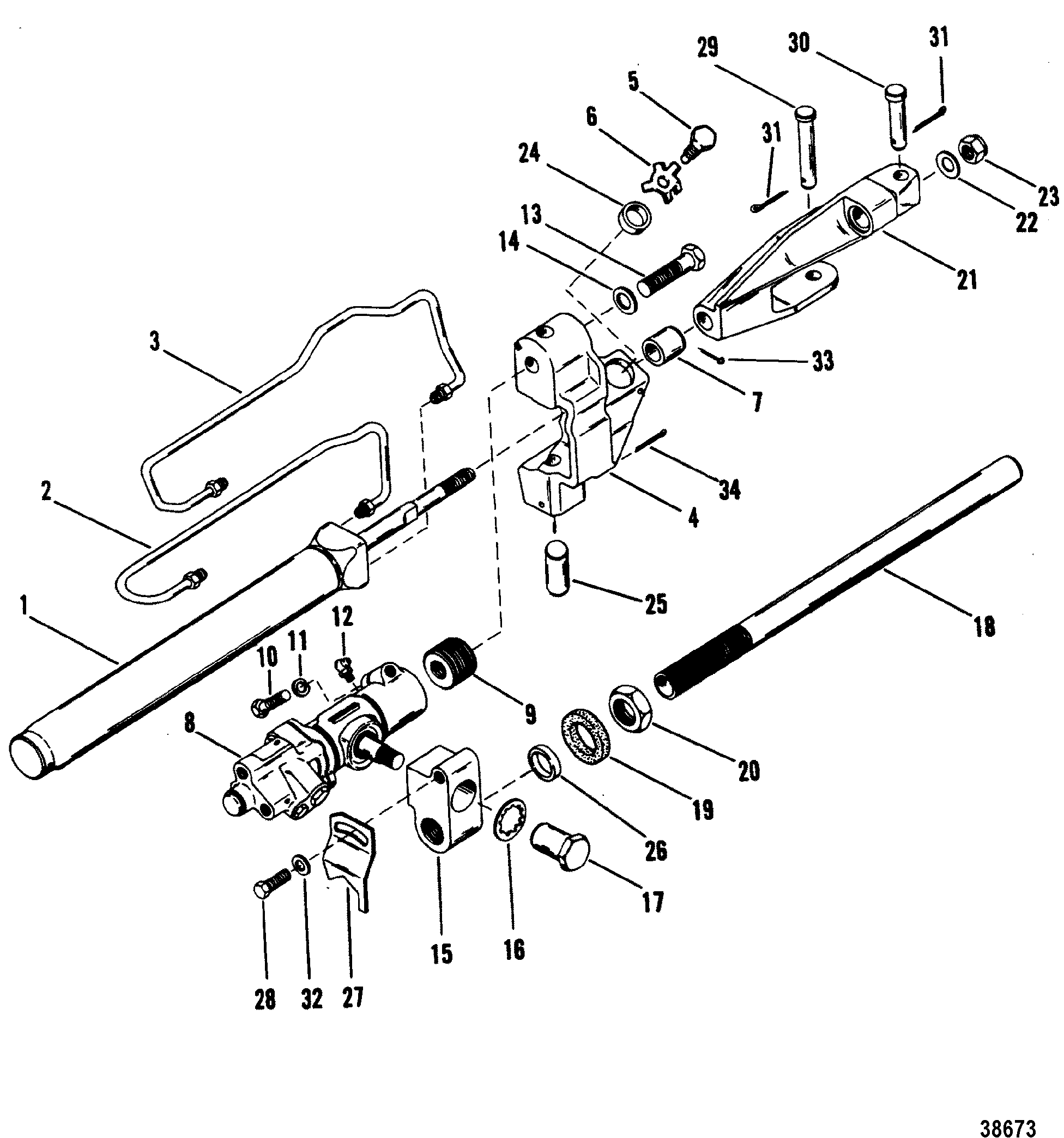 hight resolution of power steering components old design for mercruiser bravo i ii iii sterndrive and transom assembly