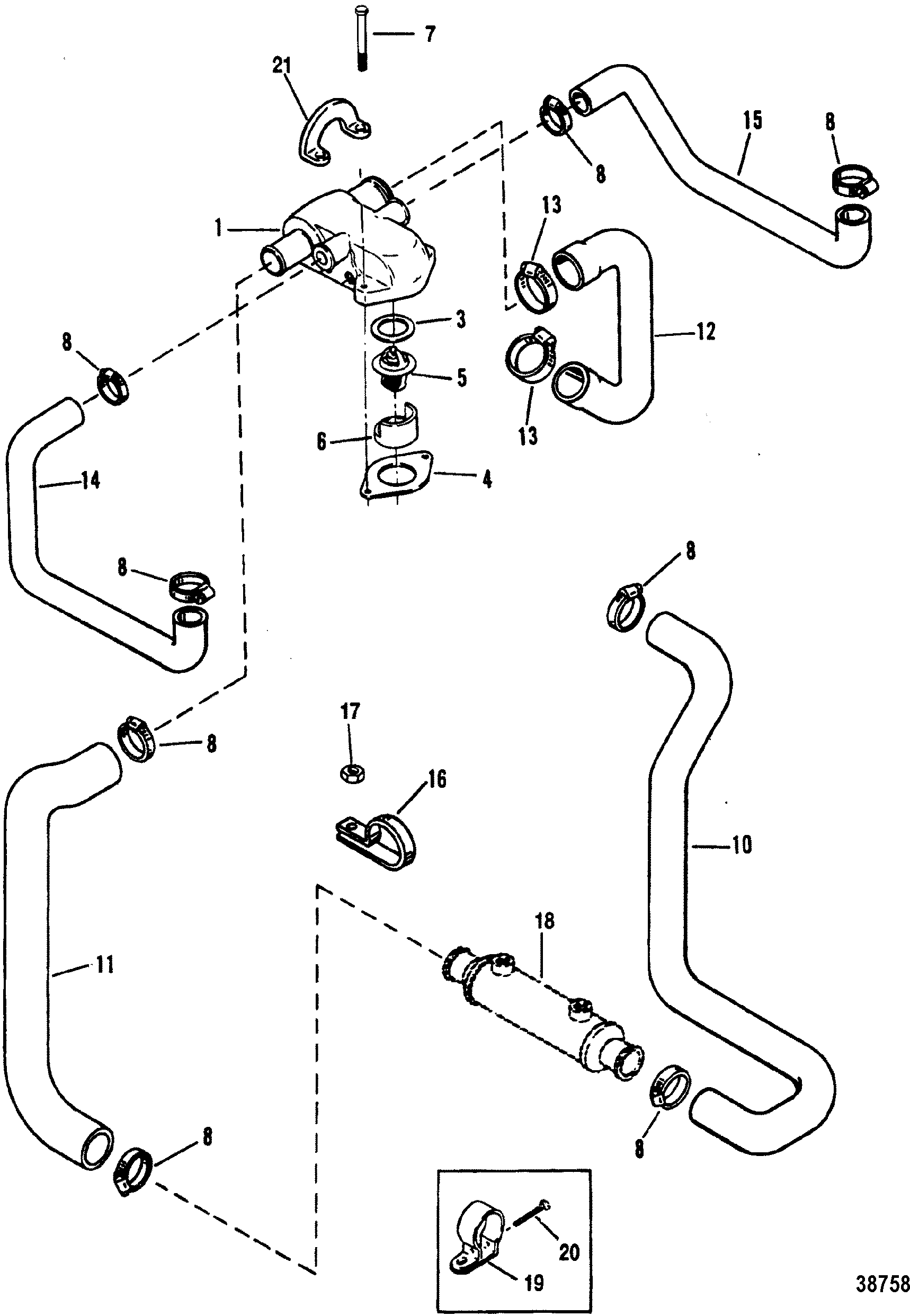 STANDARD COOLING SYSTEM DESIGN II FOR MERCRUISER 4.3L/4