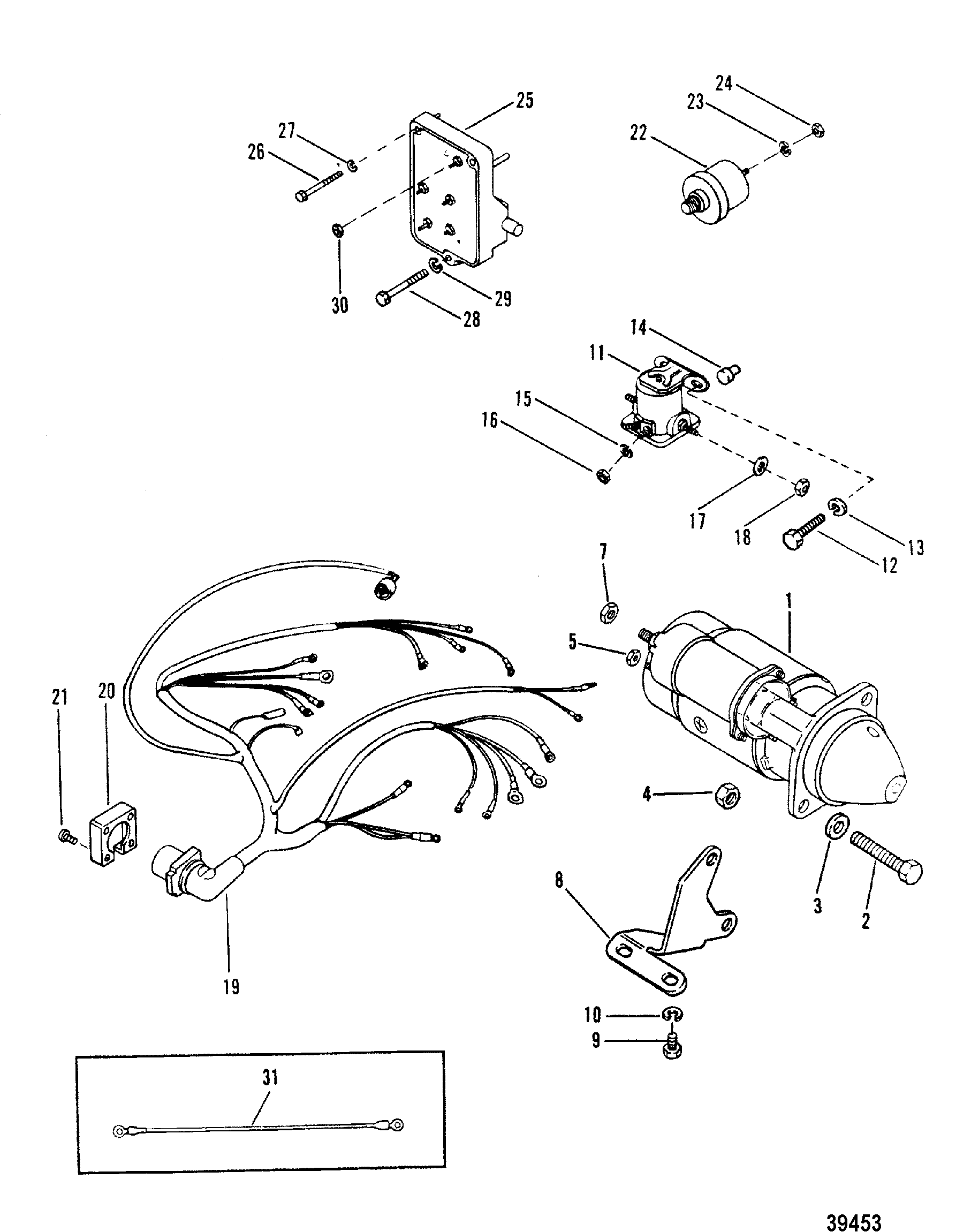 mercruiser 4 3 alternator wiring diagram 2 guitar 5 way switch diagrams starter motor and harness for 165 hp