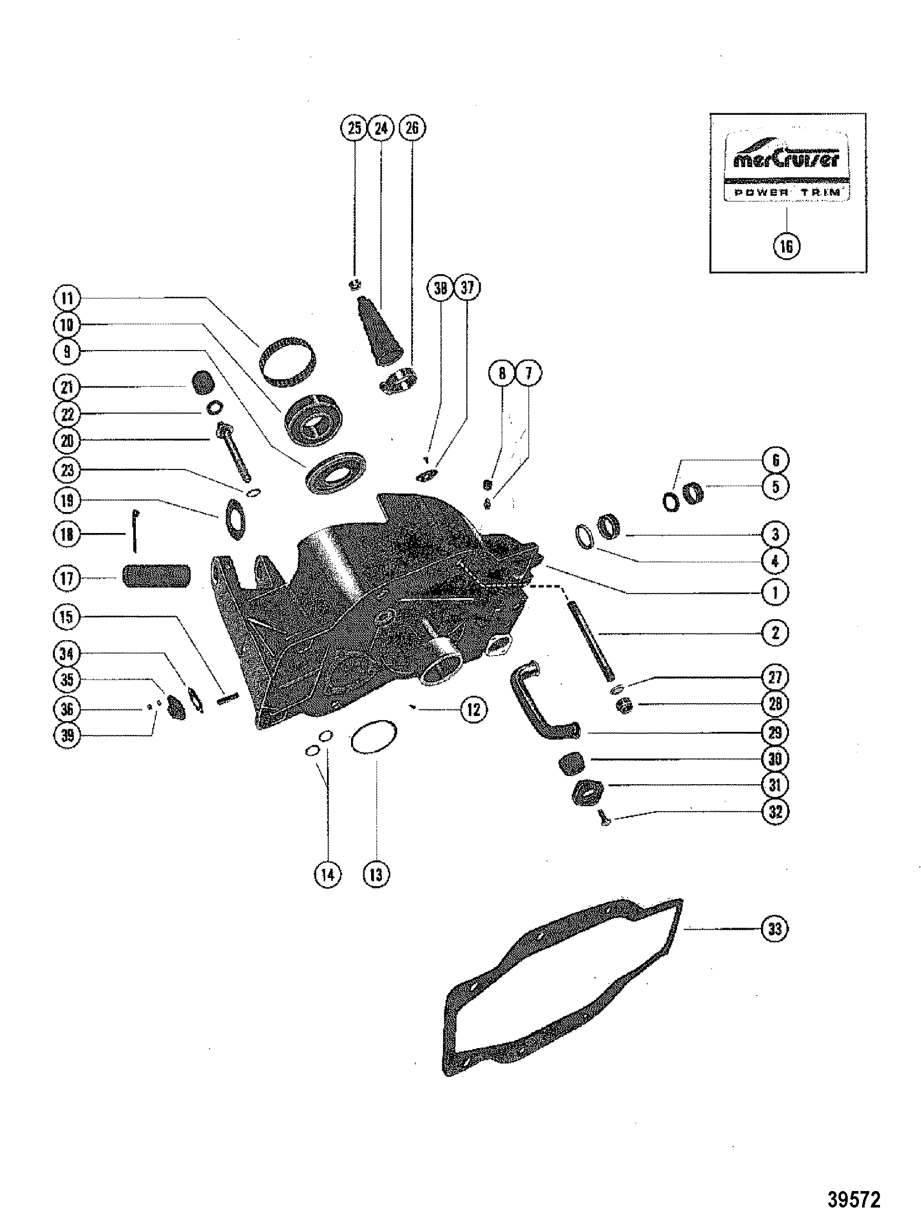 Gimbal Housing Assembly For Mercruiser 120 140 1 98 Ratio