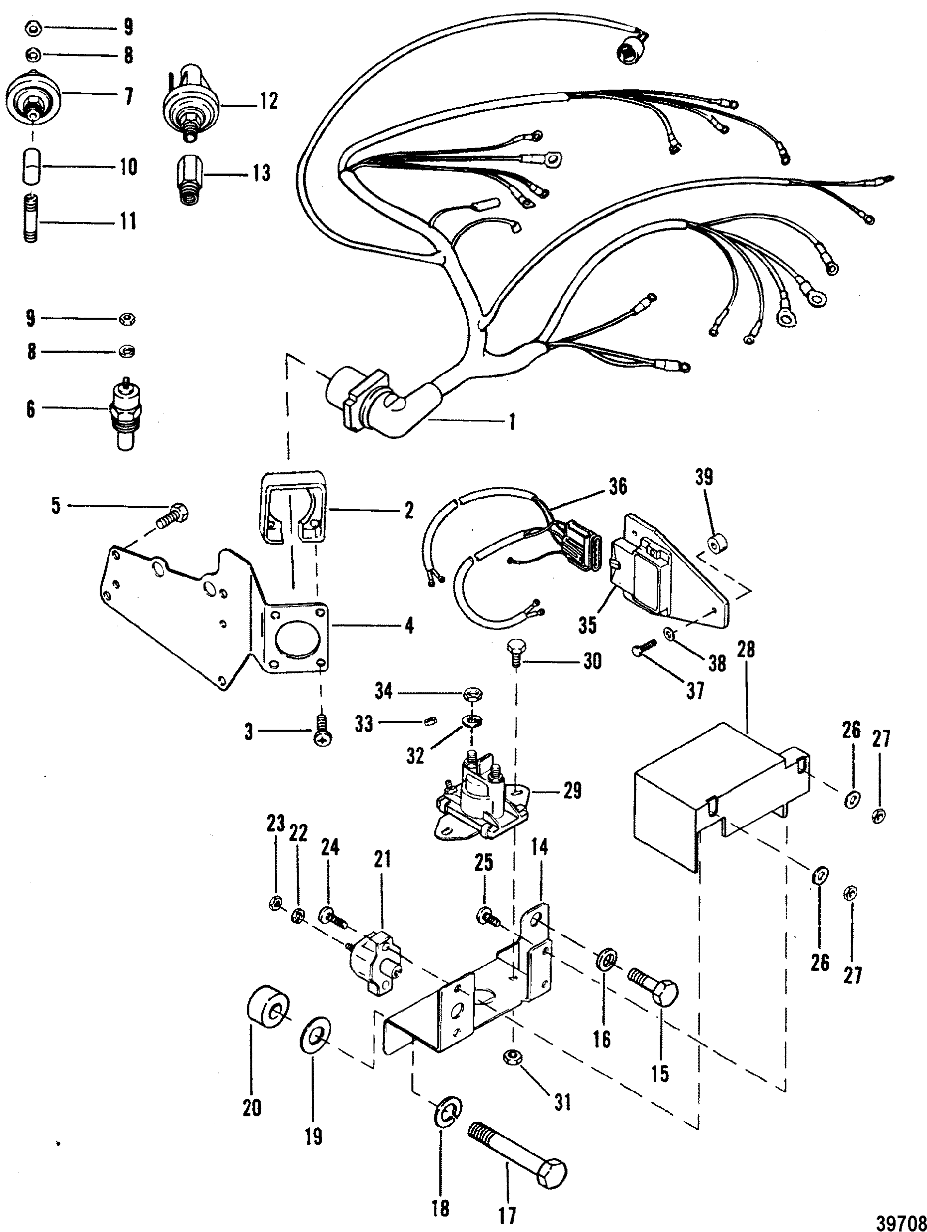Wiring Harness And Electrical Components For Mercruiser 4 3l 4 3lx Alpha One Engine 262 Cid
