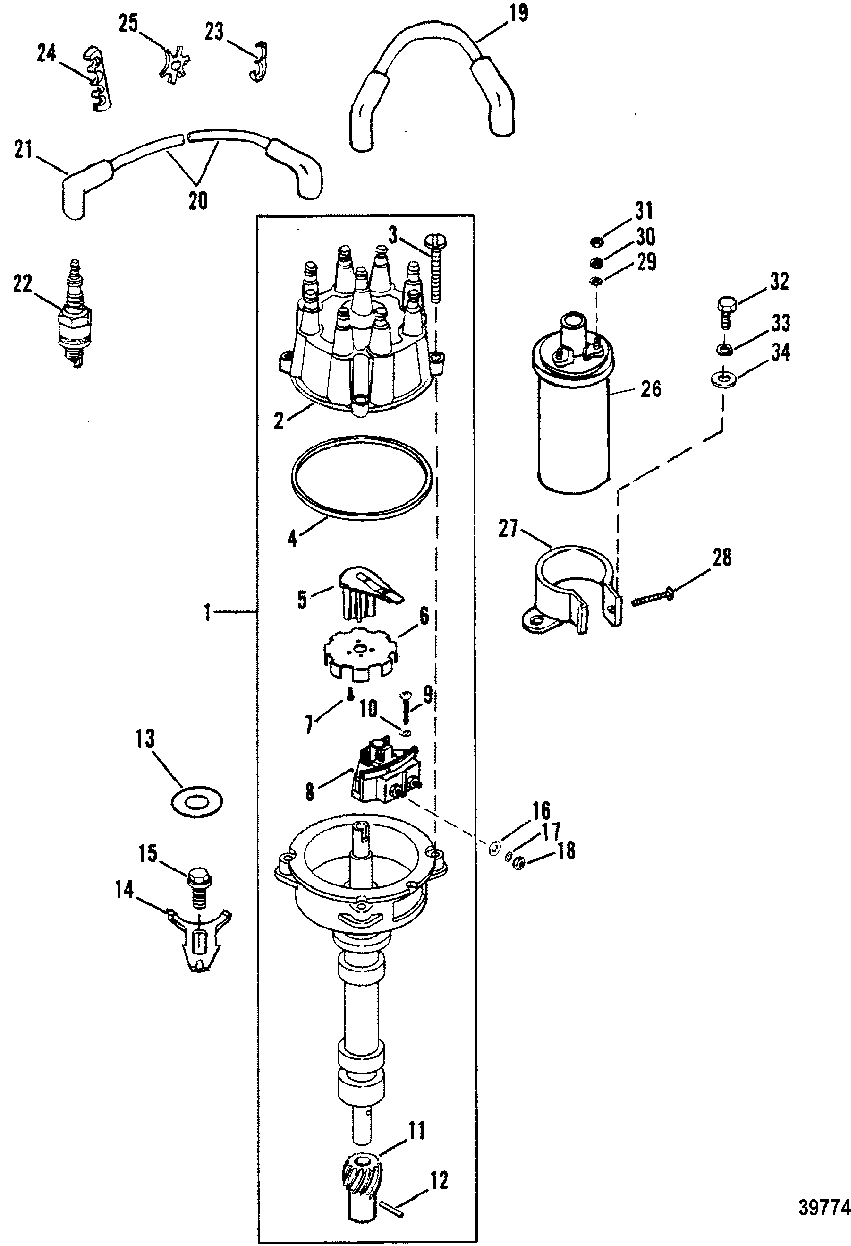 DISTRIBUTOR AND IGNITION COMPONENTS FOR MERCRUISER / MIE