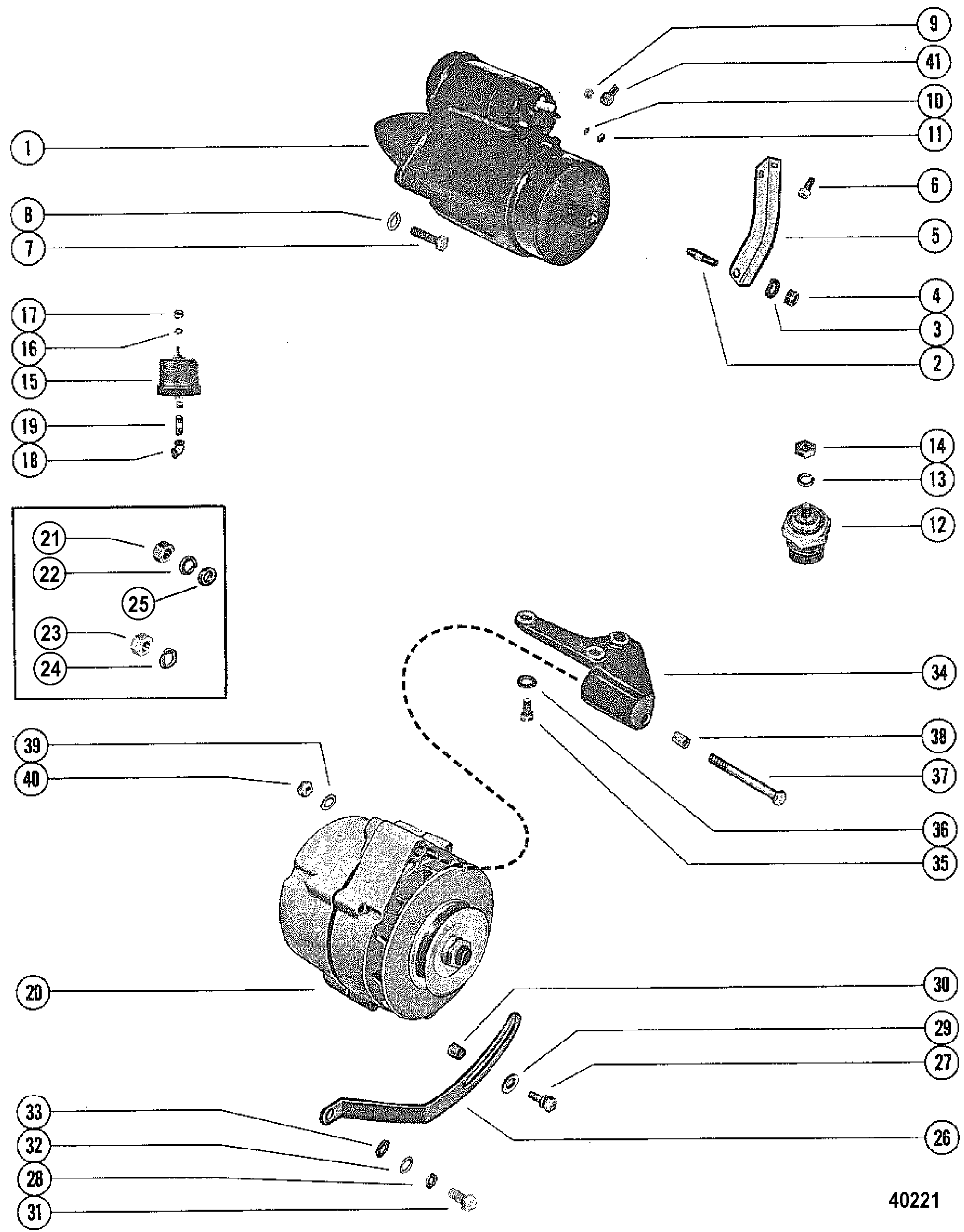 Starter Motor And Alternator For Mercruiser 228 Engine G M