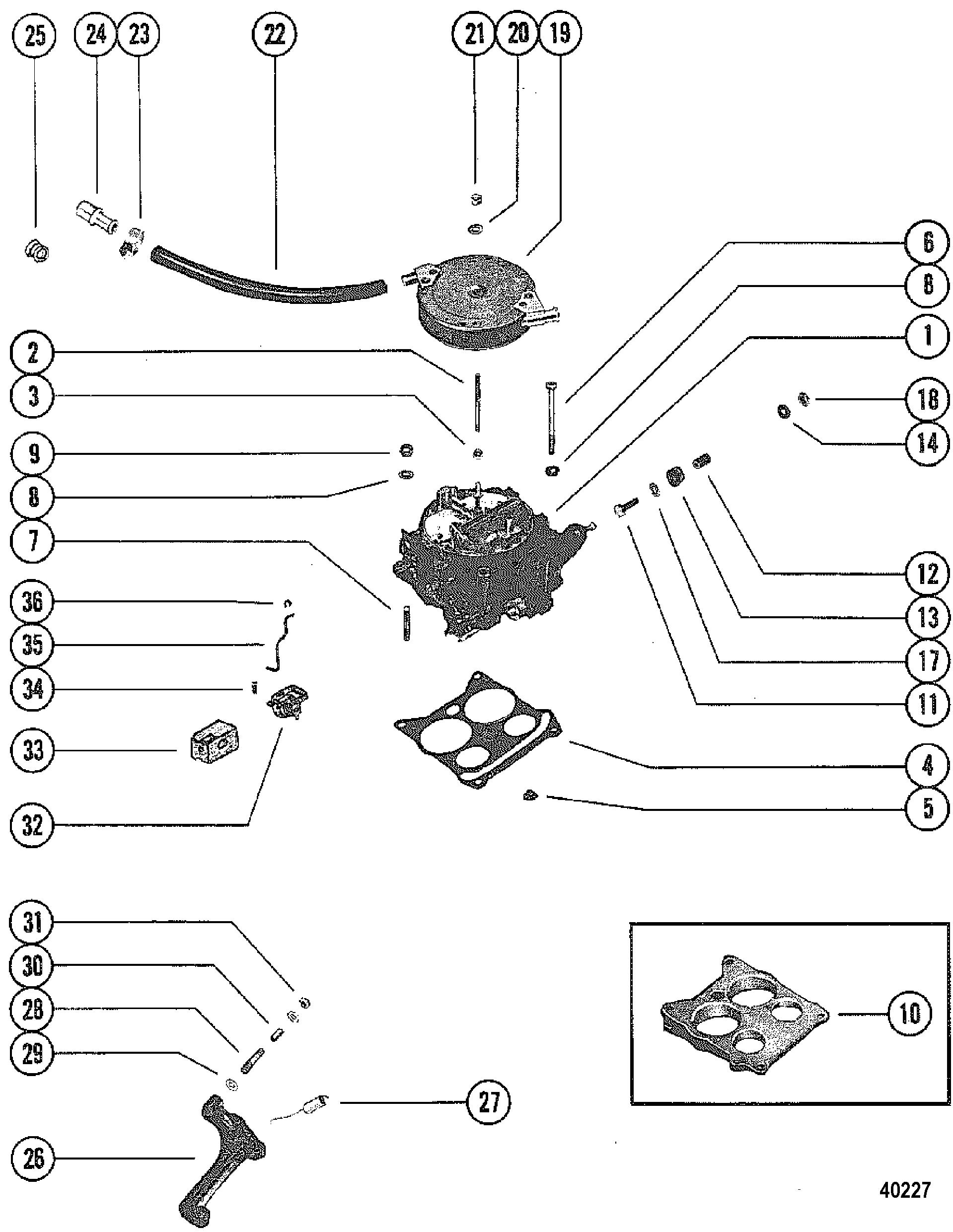 CARBURETOR AND AUTOMATIC CHOKE FOR MERCRUISER 228 ENGINE G.M.
