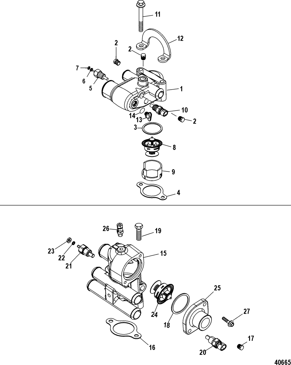 medium resolution of thermostat and housing single and 3 point drain for mercruiser 4 3l mpi alpha bravo