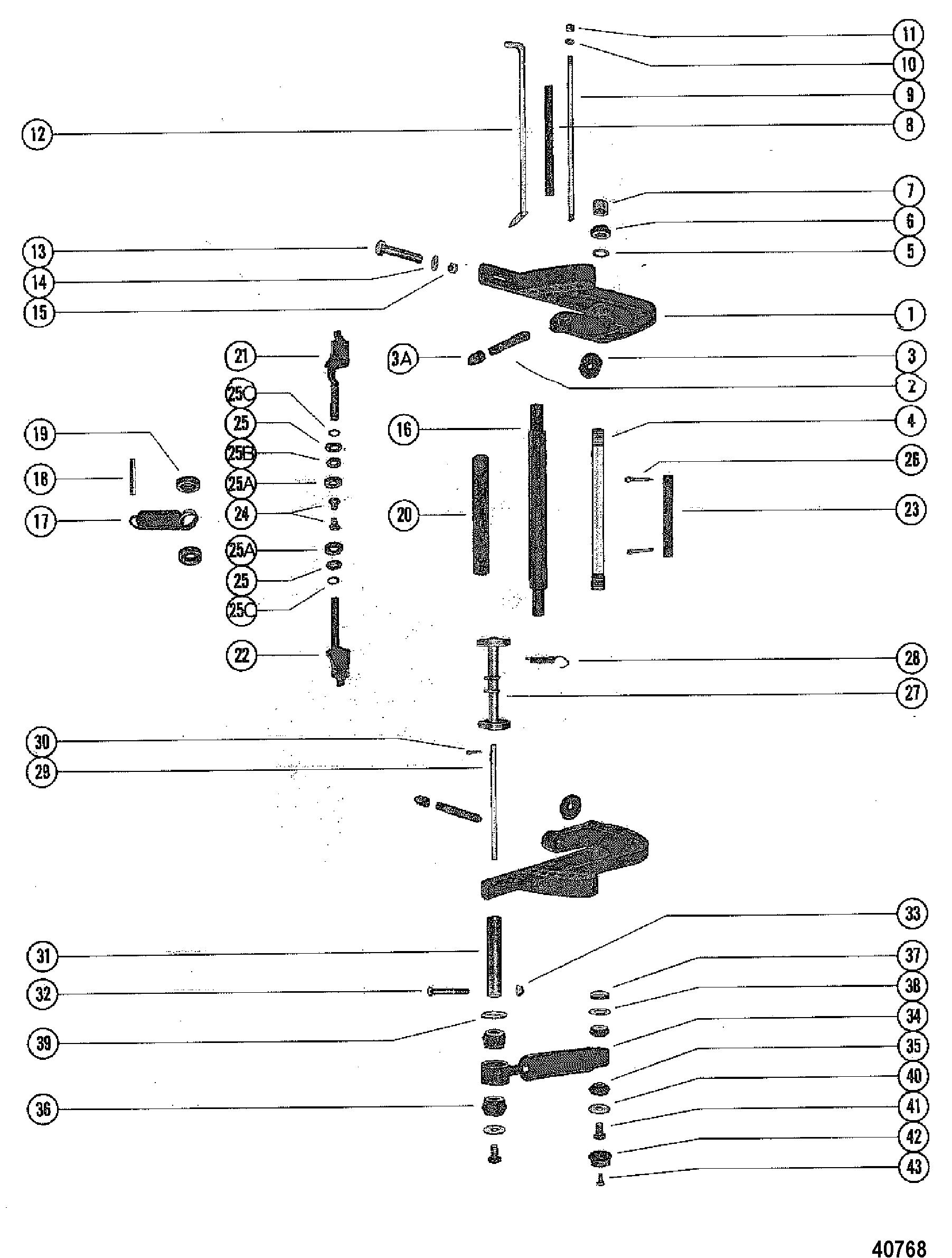 CLAMP BRACKET AND REVERSE LOCK FOR MERCURY MERC 1150