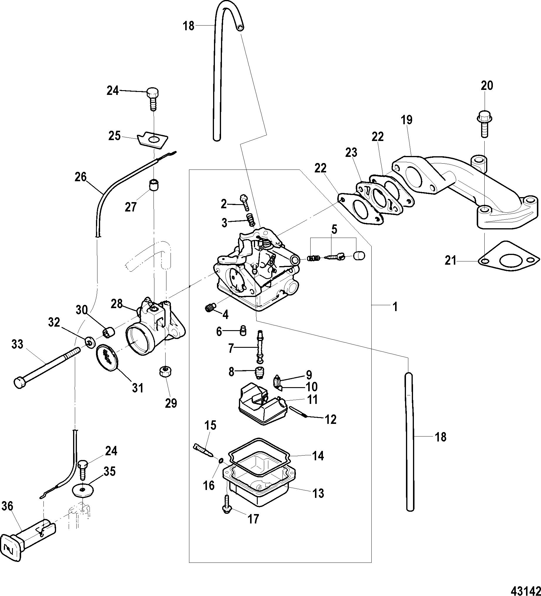 Carburetor, Serial # 0R318096 and Up FOR MARINER / MERCURY