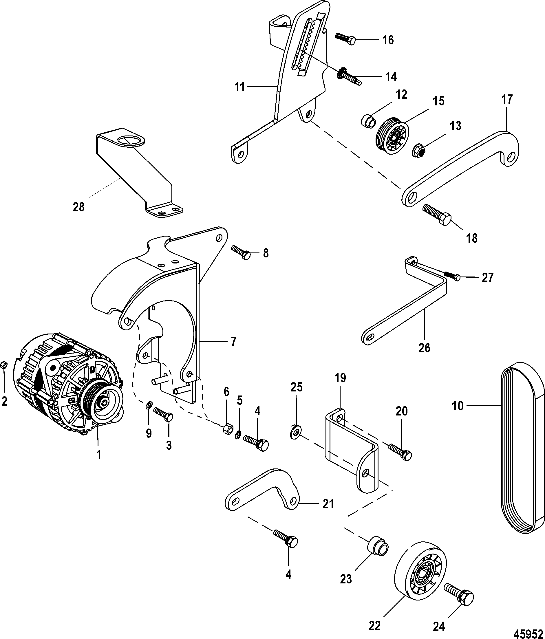 Alternator and Brackets FOR MERCRUISER 4.3L MPI ALPHA/BRAVO EC