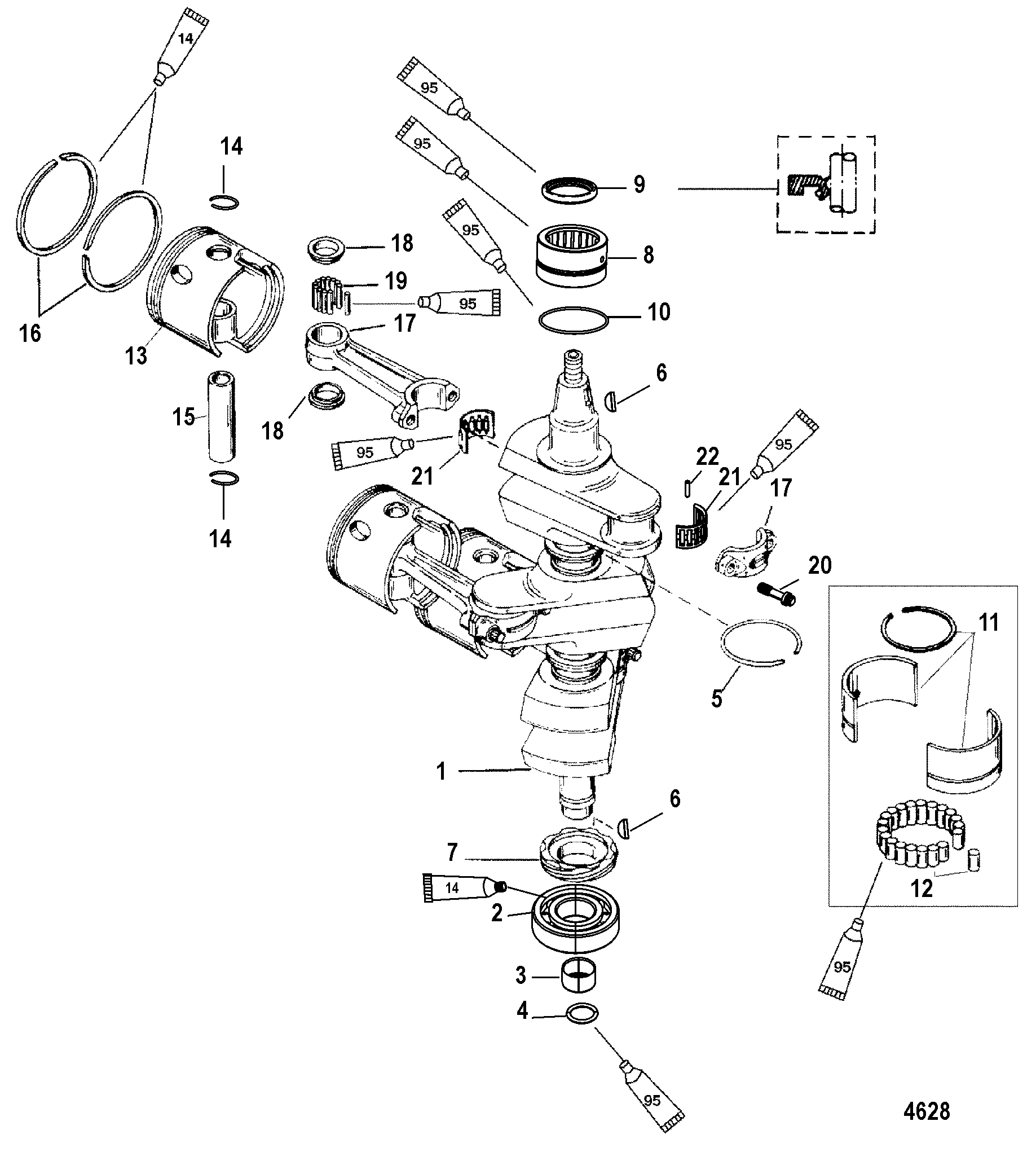 Crankshaft, Pistons and Connecting Rods FOR MARINER