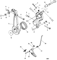 throttle lever and linkage for mariner mercury 75 90 h p 65 jet 3 diagram of 2006 mercury marine mercury outboard 1090412fb electrical [ 1868 x 2472 Pixel ]