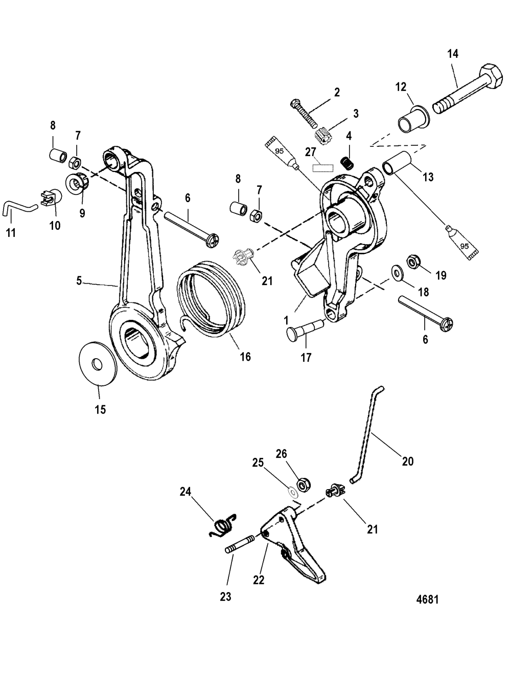 medium resolution of throttle lever and linkage for mariner mercury 75 90 h p 65 jet 3 diagram of 2006 mercury marine mercury outboard 1090412fb electrical