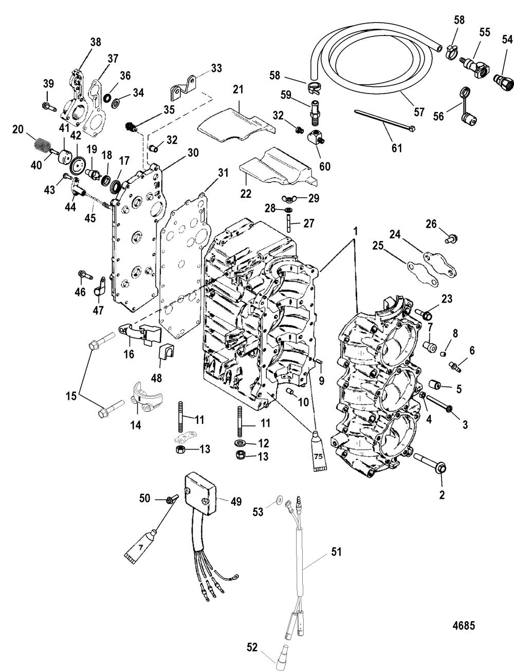 medium resolution of cylinder block for mariner mercury 75 90 hp 65 jet 3 cylinder diagram of 2006 mercury marine mercury outboard 1090412fb electrical