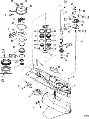 Gear Housing, Driveshaft, 480 Torpedo FOR MARINER  MERCURY 200225250275300 4STROKE VERADO