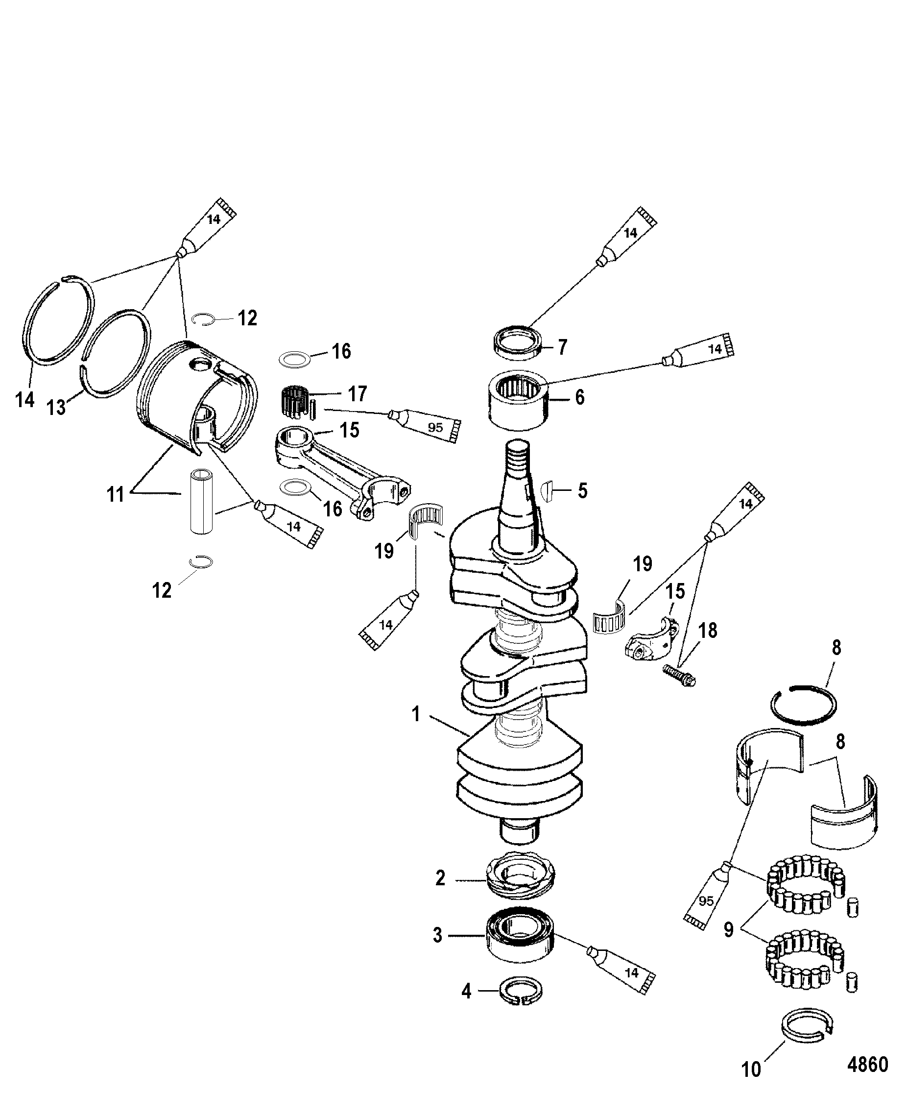 Crankshaft, Pistons and Connection Rods FOR MARINER
