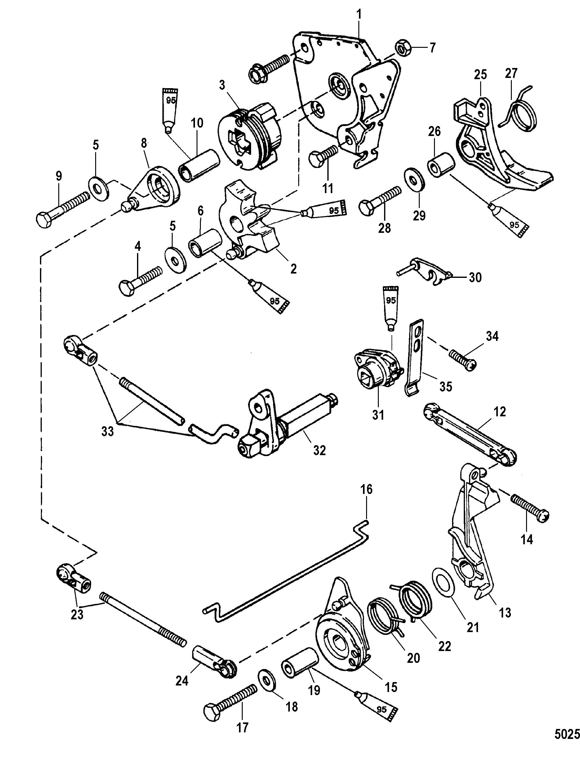 Throttle and Shift Linkage Tiller Handle FOR MARINER