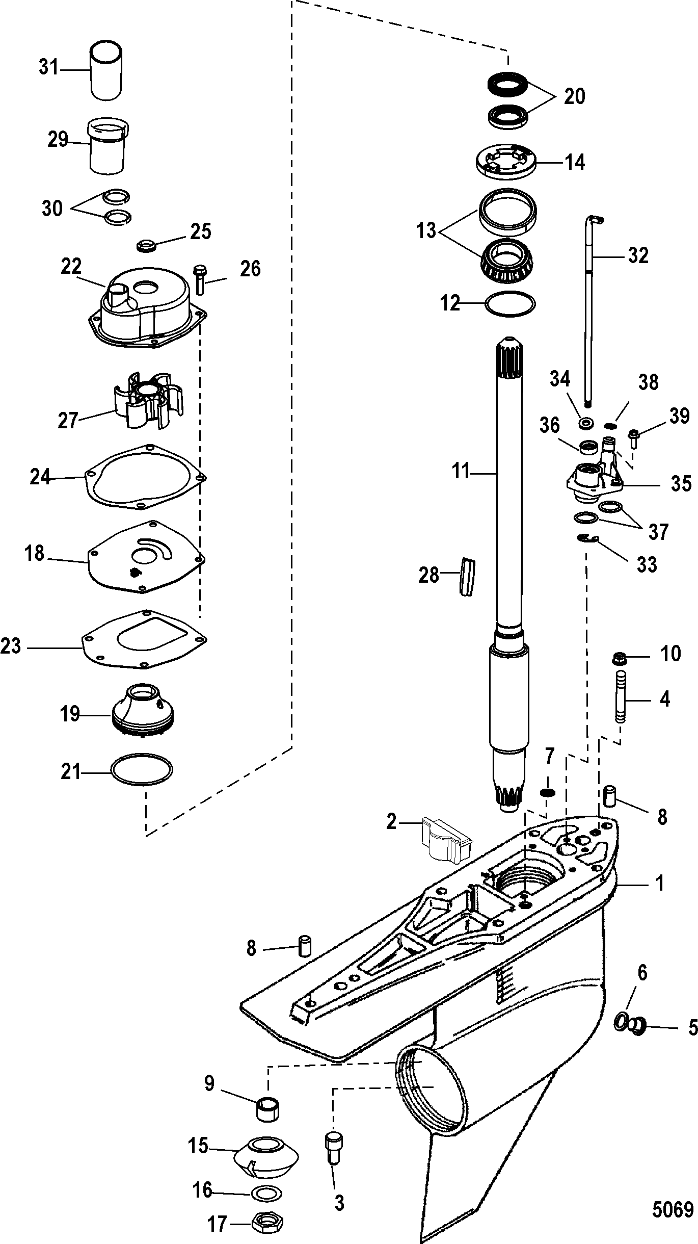 GEAR HOUSING DRIVESHAFT STANDARD ROTATION FOR MERCRUISER