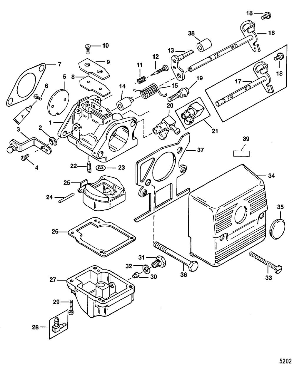 medium resolution of carburetor for mariner mercury 30 40 2 cylinder 2 stroke