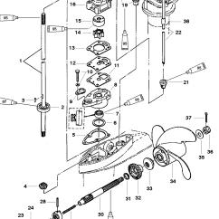 Yamaha Outboard Motor Parts Diagram Leeson Motors Wiring Diagrams Gear Housing Components For Mariner Mercury 4 5hp 2 Stroke