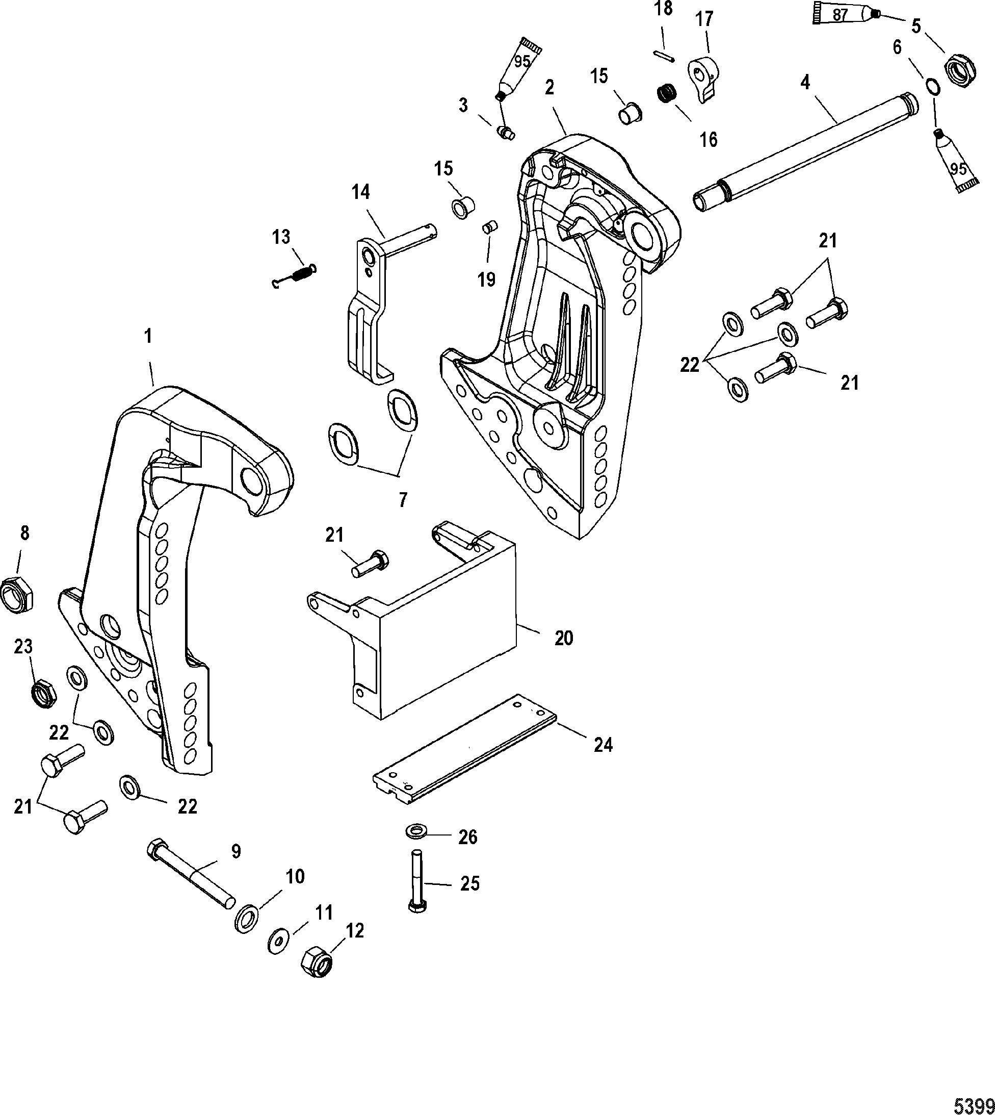 Transom Bracket S/N USA-0T800999/ Bel-0P267999 and Below