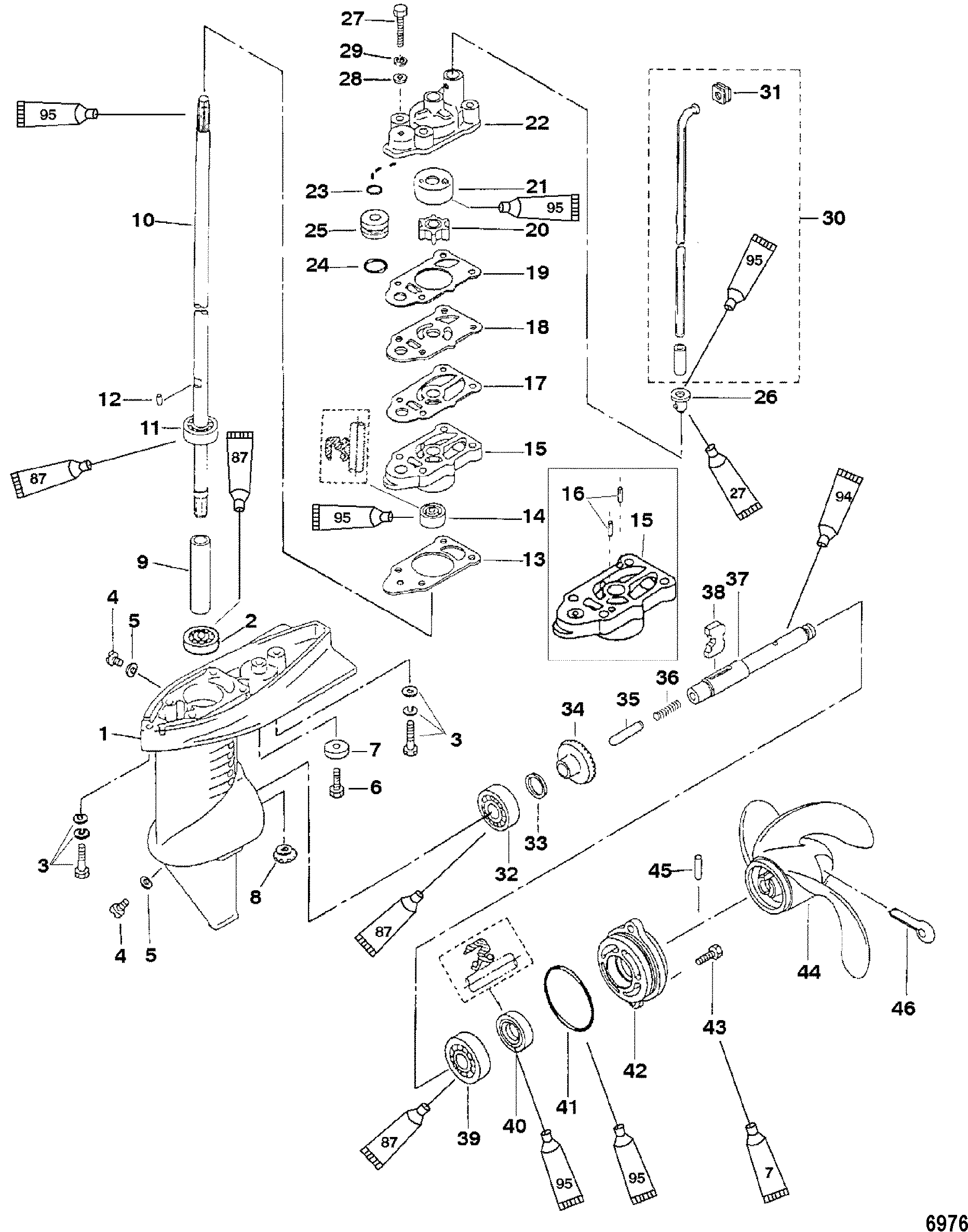 Gear Housing Assembly, 3.3 Horsepower FOR MARINER