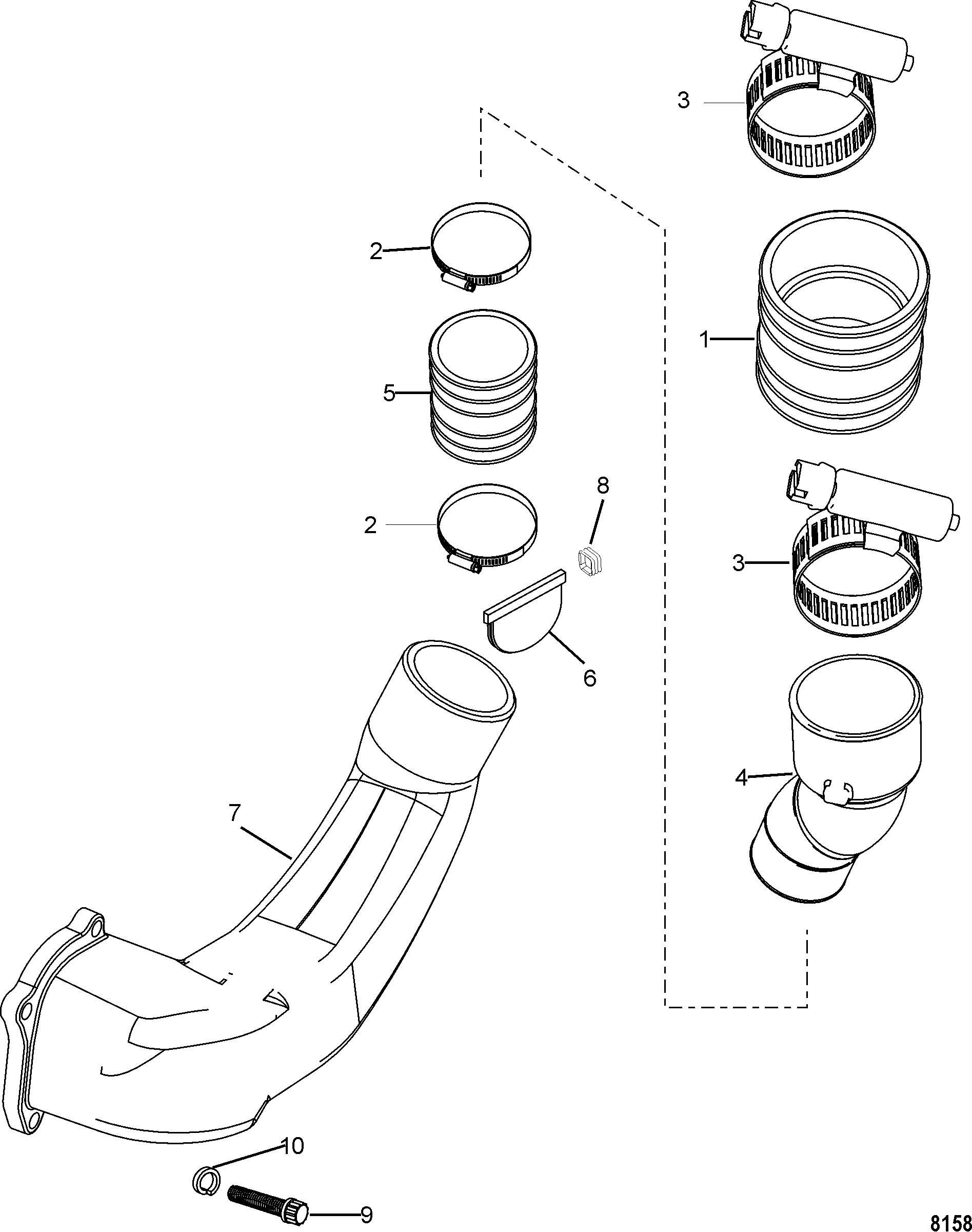 Exhaust System FOR MERCRUISER 3.0L ALPHA ONE