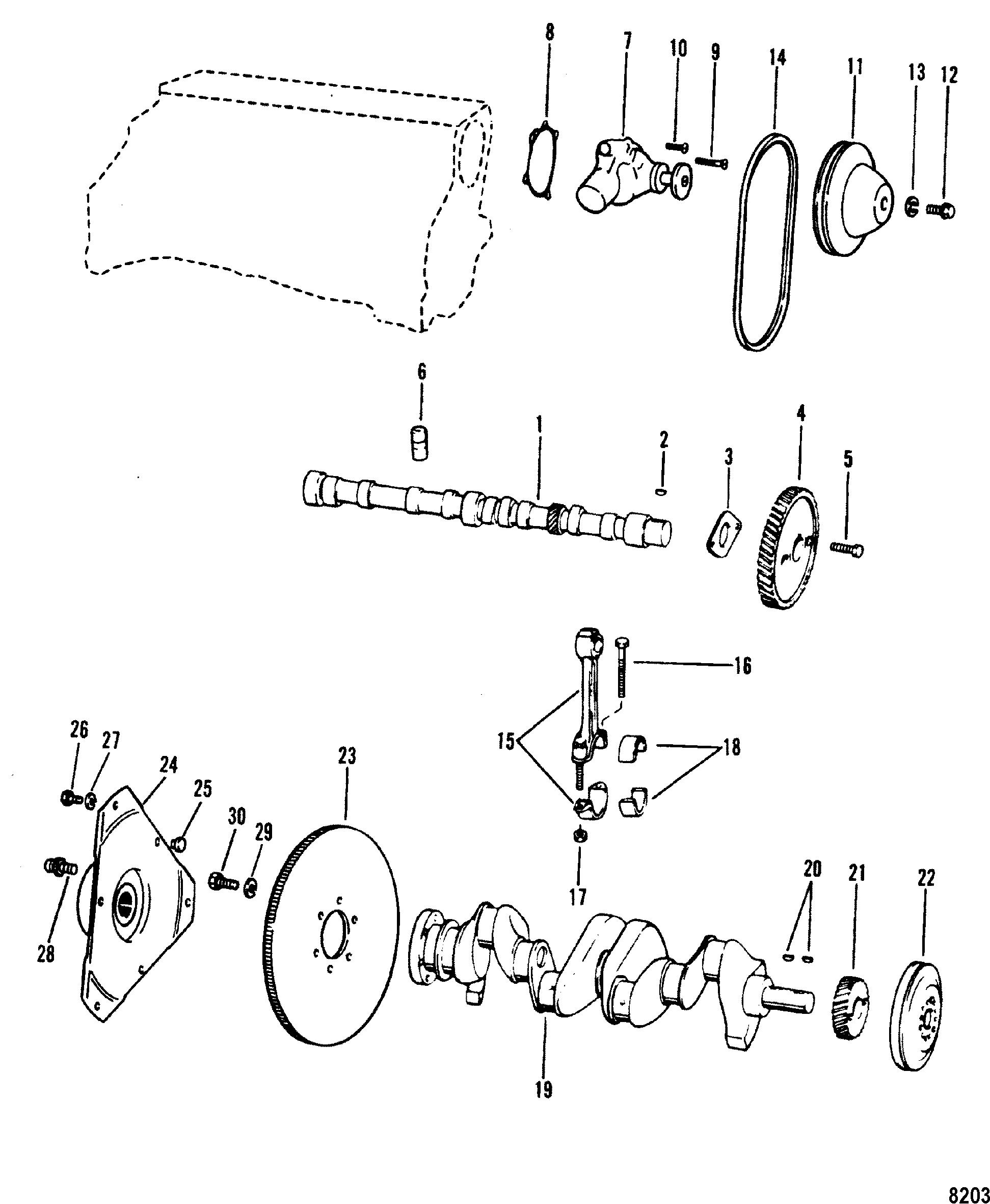 mercruiser water pump diagram rv ac wiring crankshaft camshaft for 3 0l lx