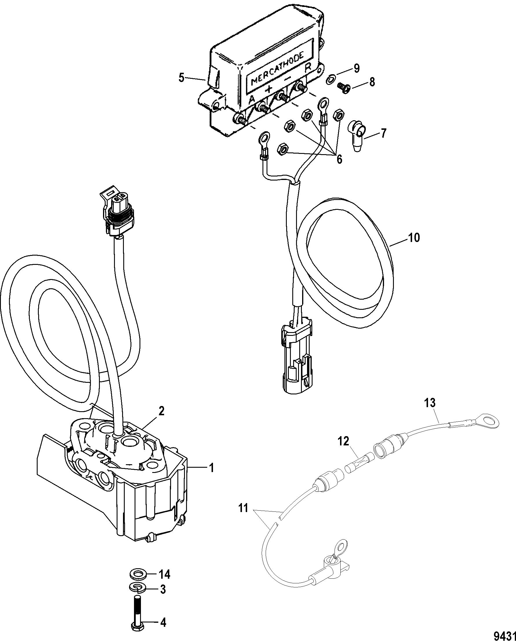 Mercathode Kit Integrated Transom FOR MERCRUISER / RACE