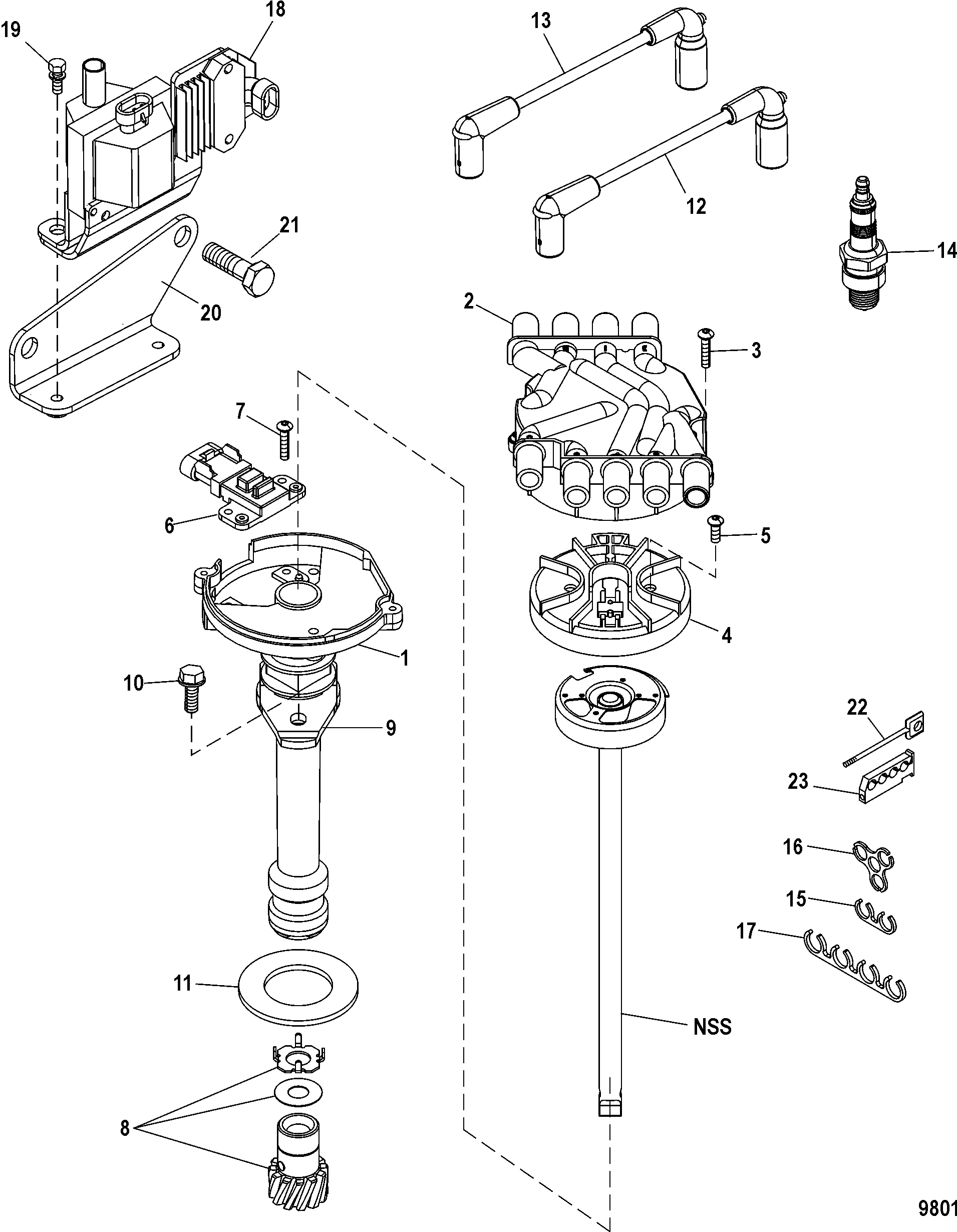 Distributor And Ignition Components For Mercruiser 5 0