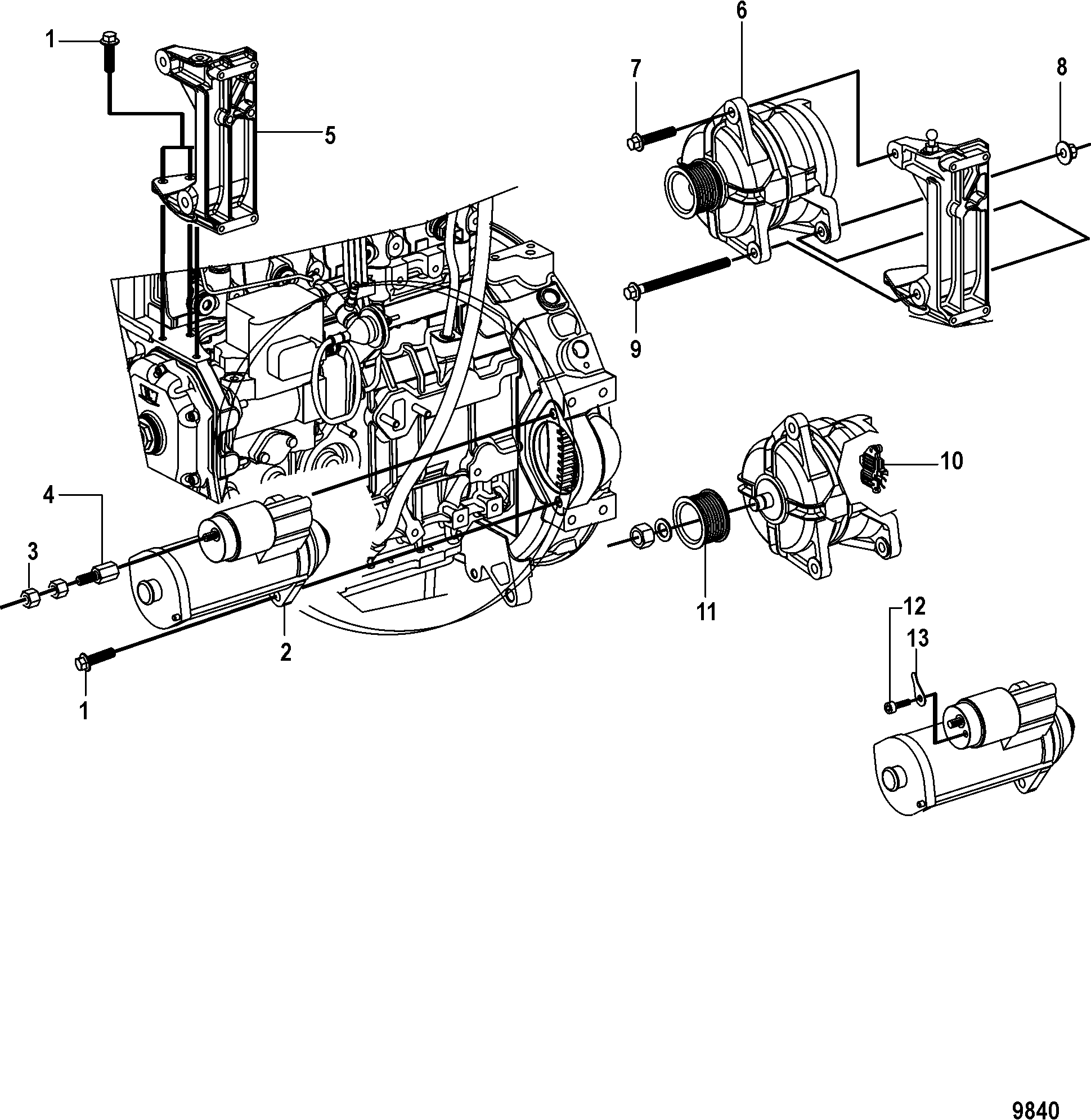 Alternator and Starter FOR MERCRUISER / MIE CUMMINS