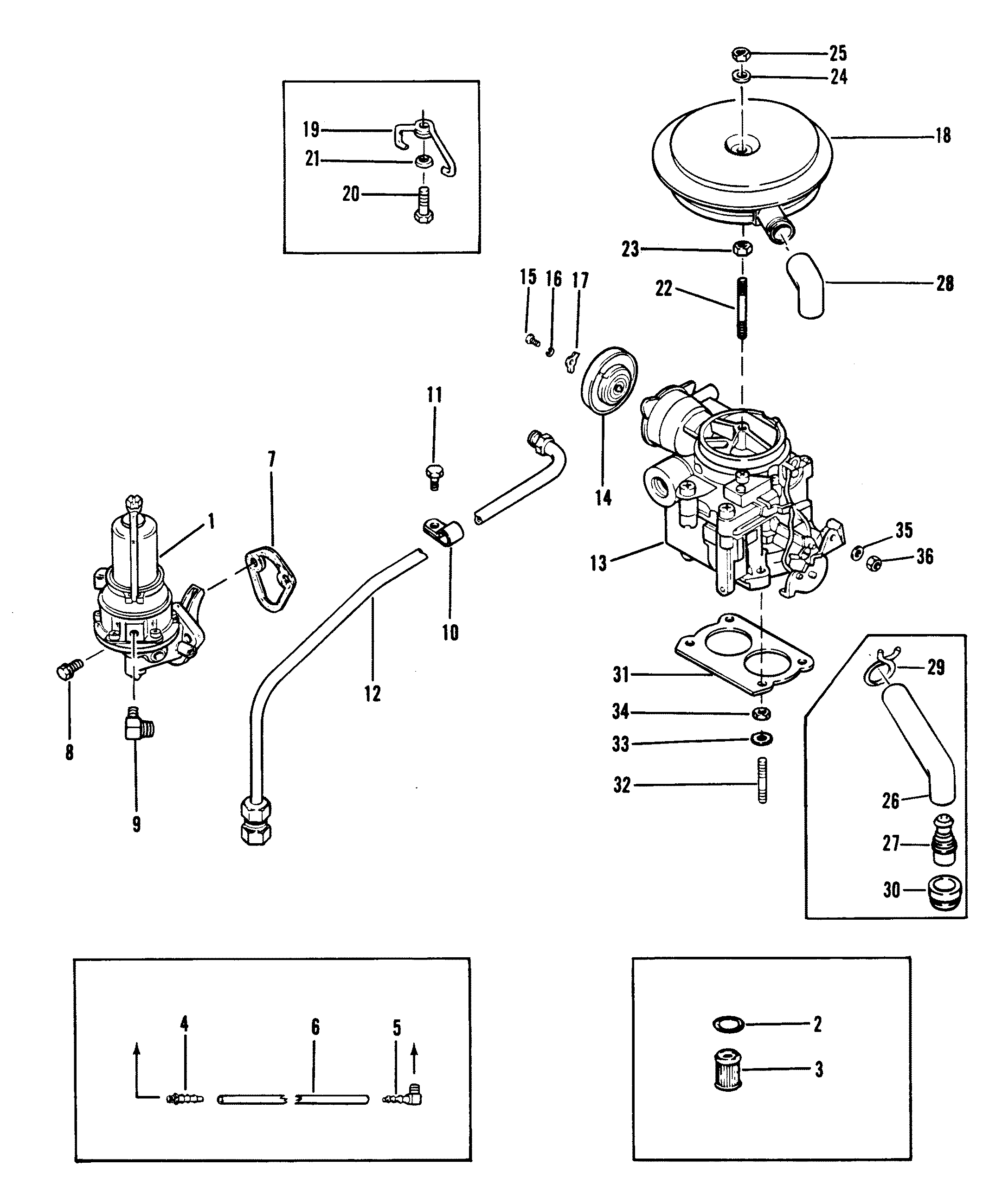 FUEL PUMP AND CARBURETOR OLD DESIGN FOR MERCRUISER 120 H.P